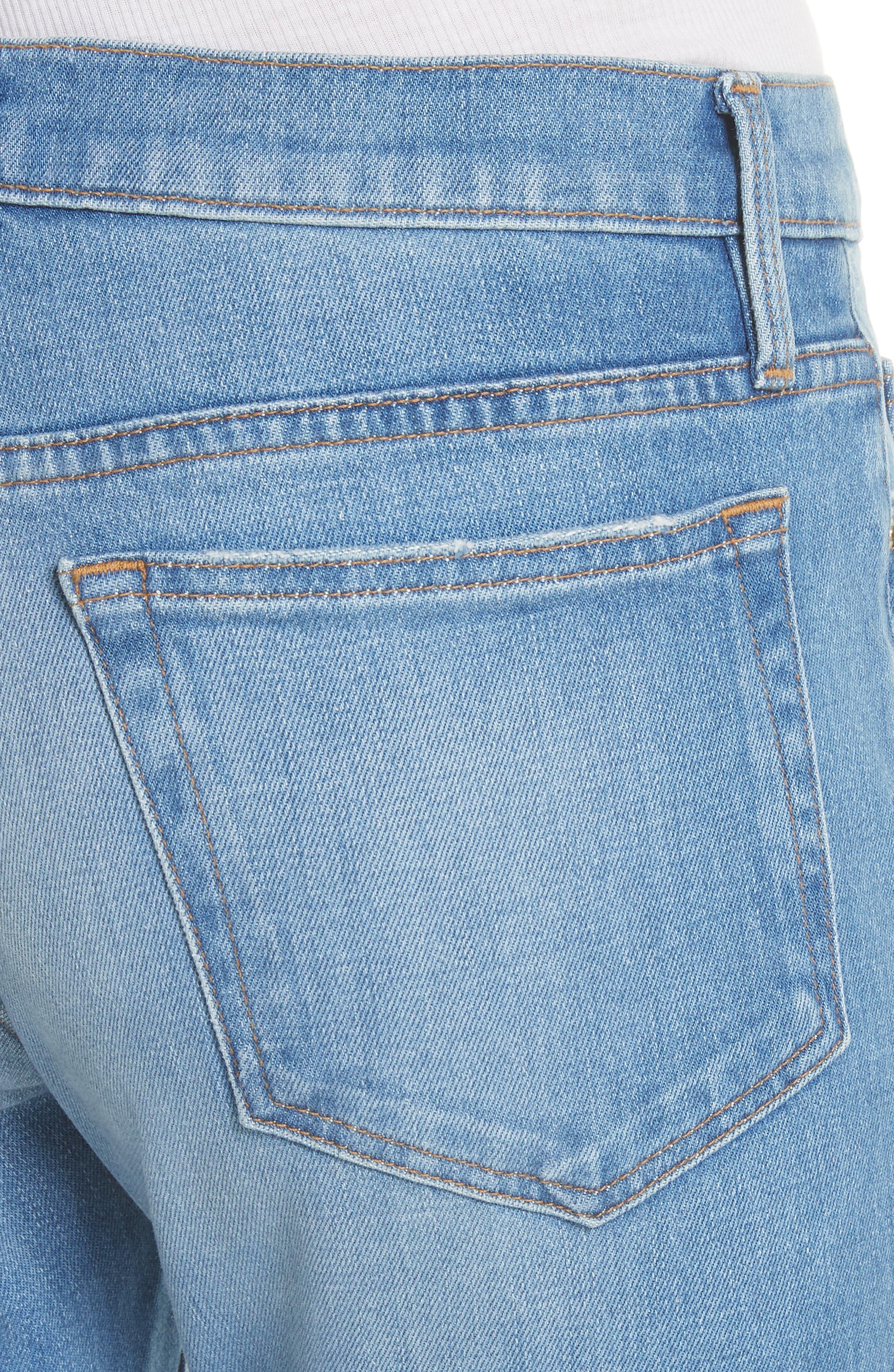 Le Boy Released Cut Hem Straight Leg Jeans,                             Alternate thumbnail 4, color,                             WHITFIELD