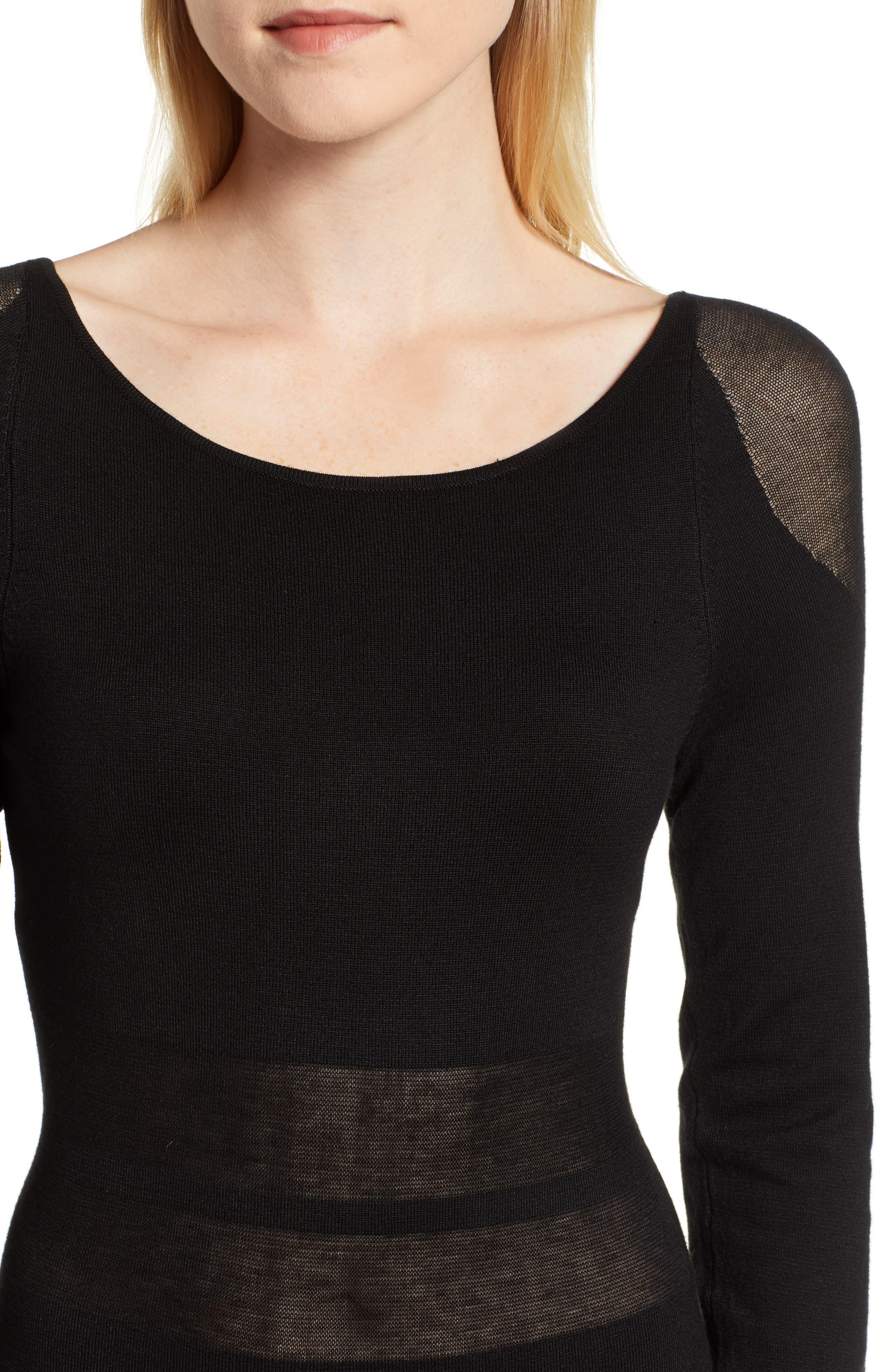 Illusion Stripe Midi Dress,                             Alternate thumbnail 4, color,                             BLACK