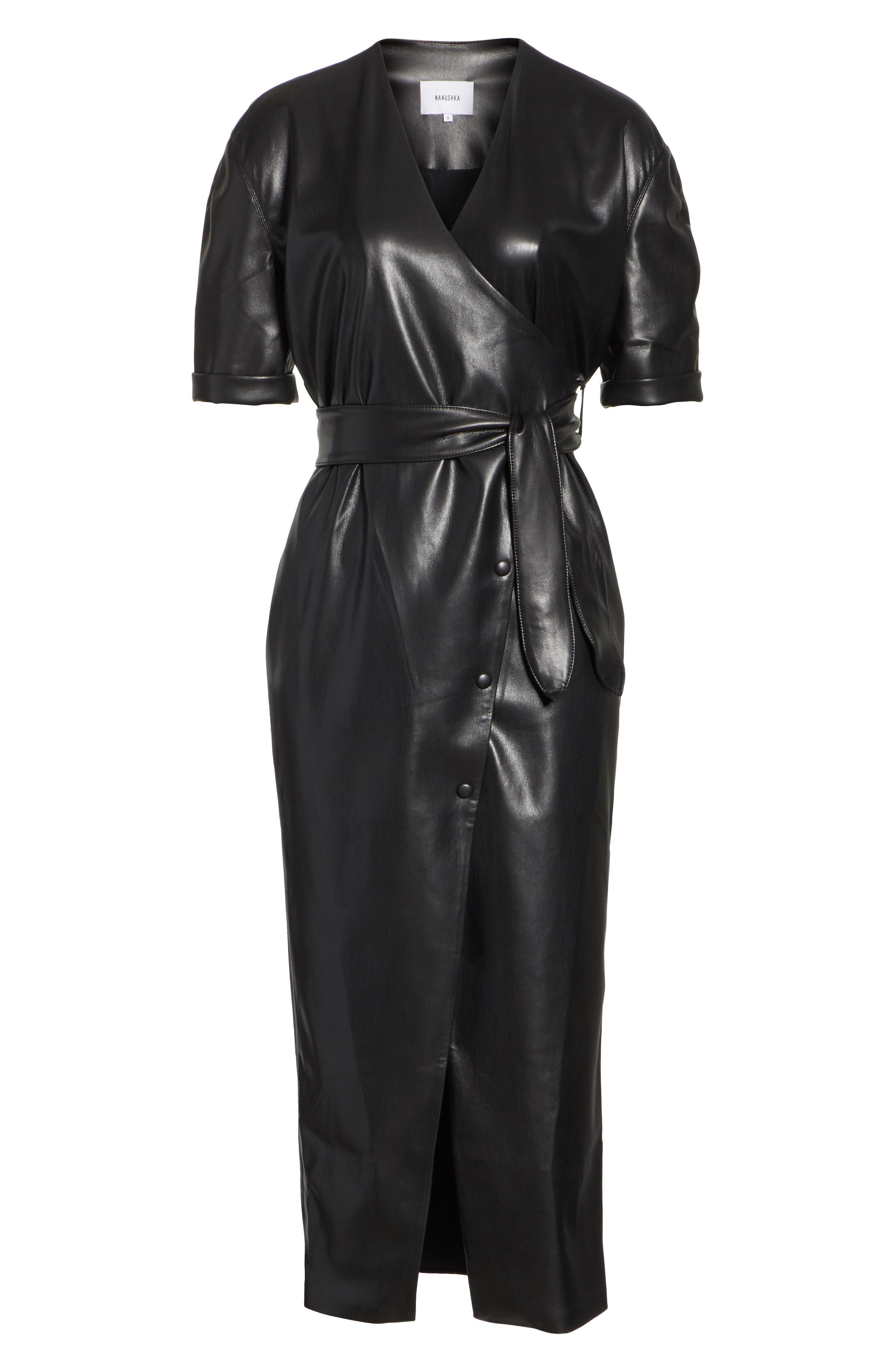 Penelope Faux Leather Wrap Dress,                             Alternate thumbnail 6, color,                             BLACK