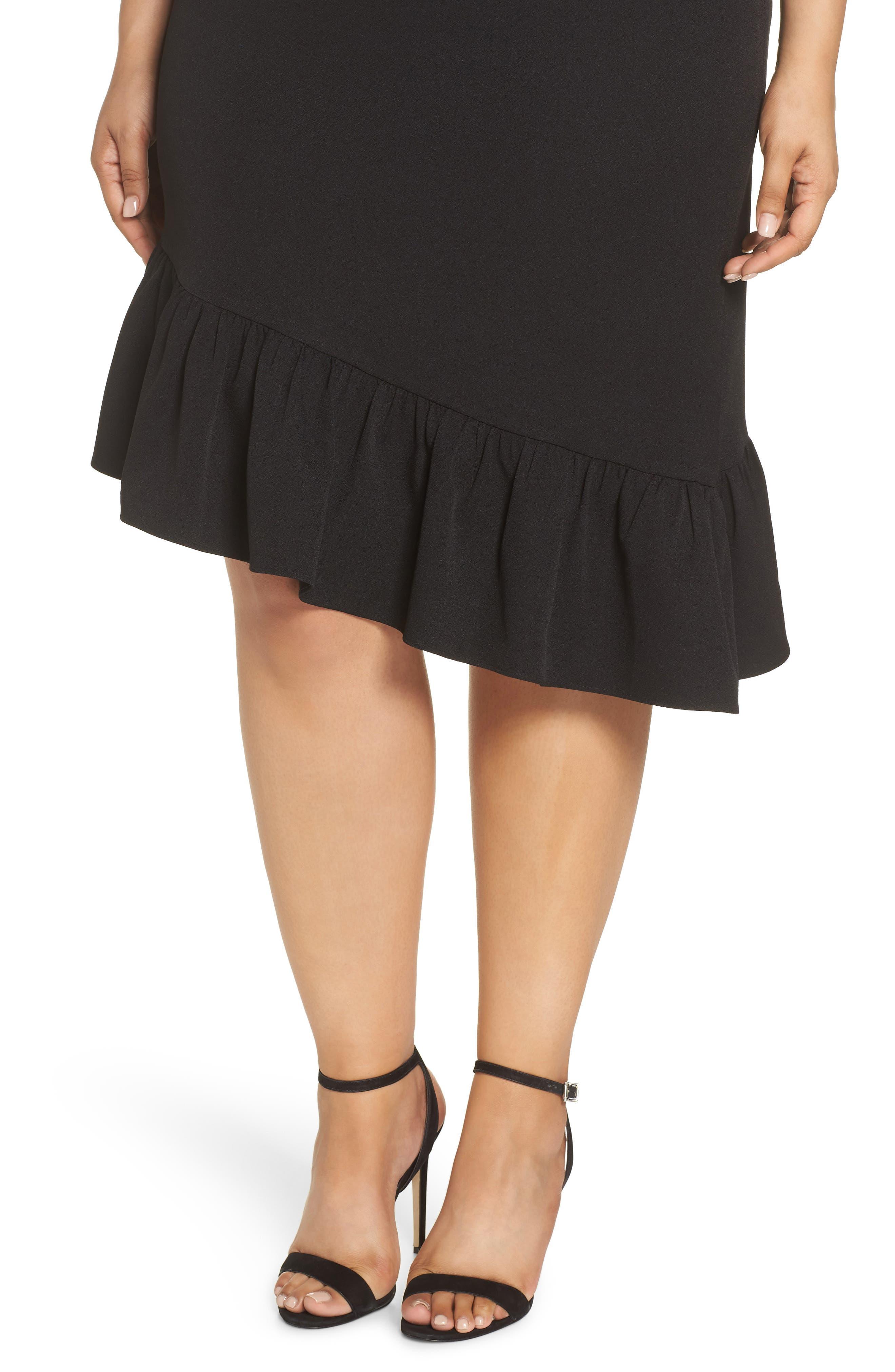 Asymmetric Ruffle Hem Dress,                             Alternate thumbnail 11, color,                             001