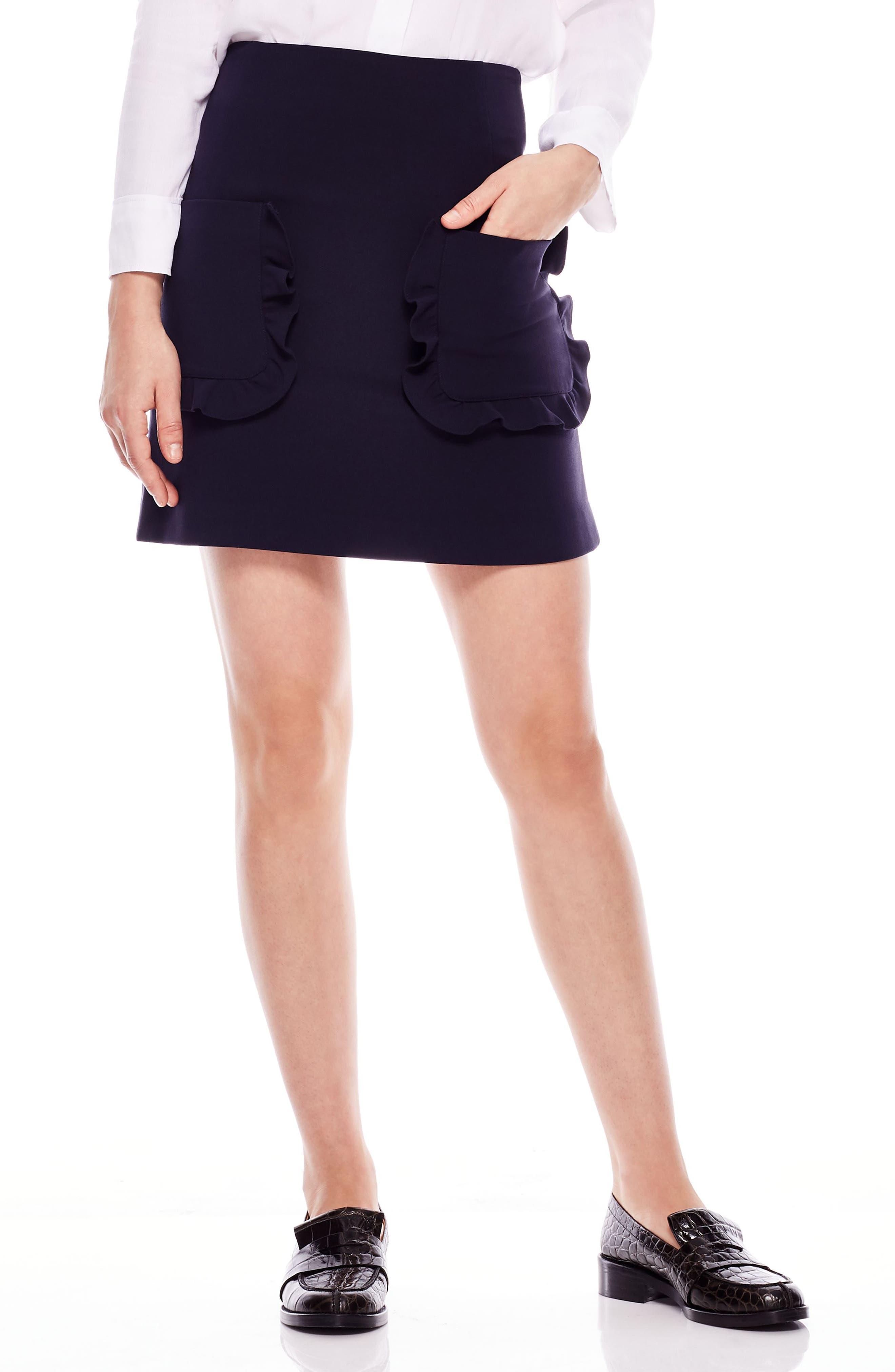 Ruffle Pocket Mini Skirt,                             Main thumbnail 1, color,                             DEEP NAVY