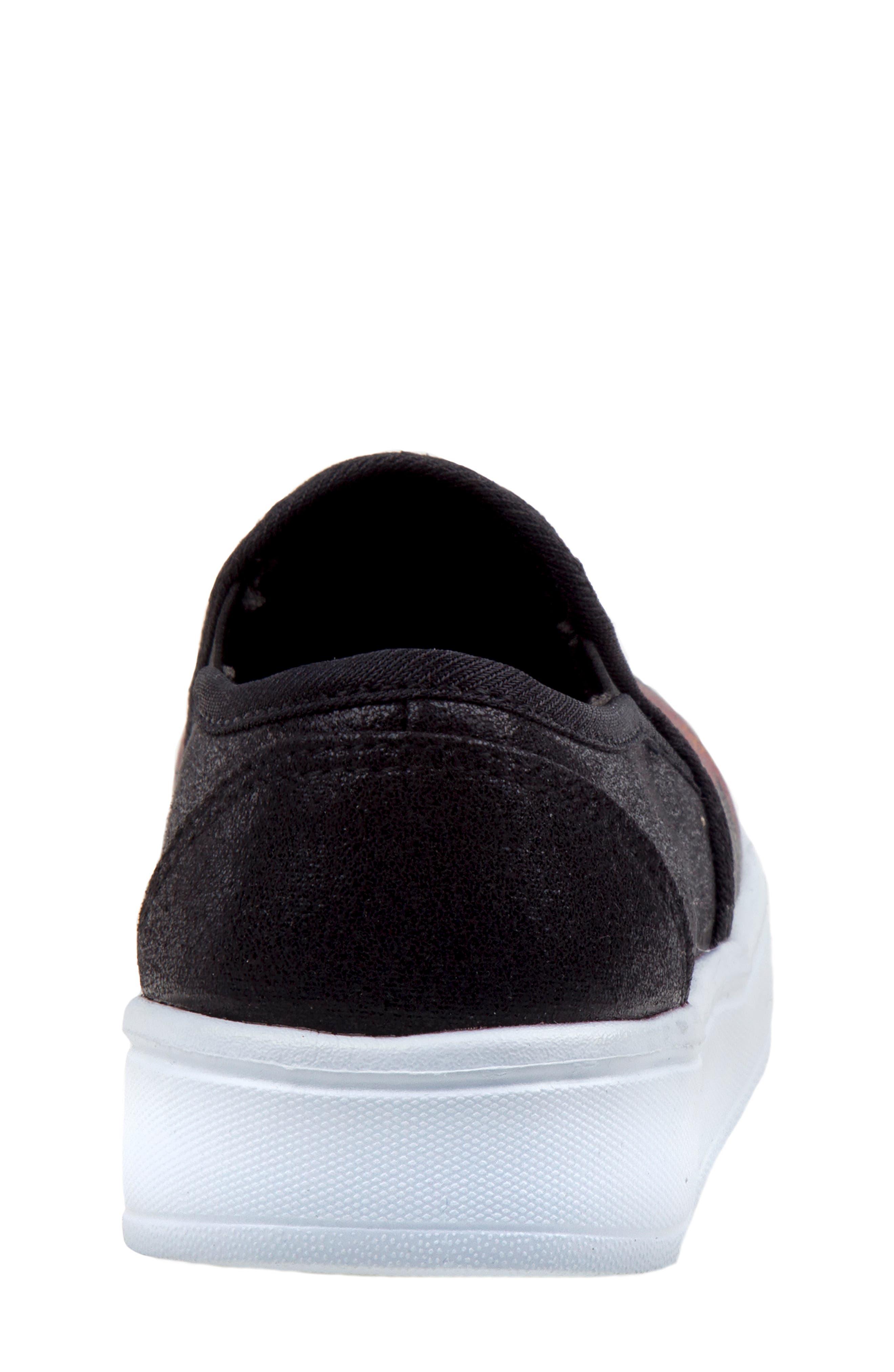 Floral Slip-On Sneaker,                             Alternate thumbnail 6, color,                             BLACK