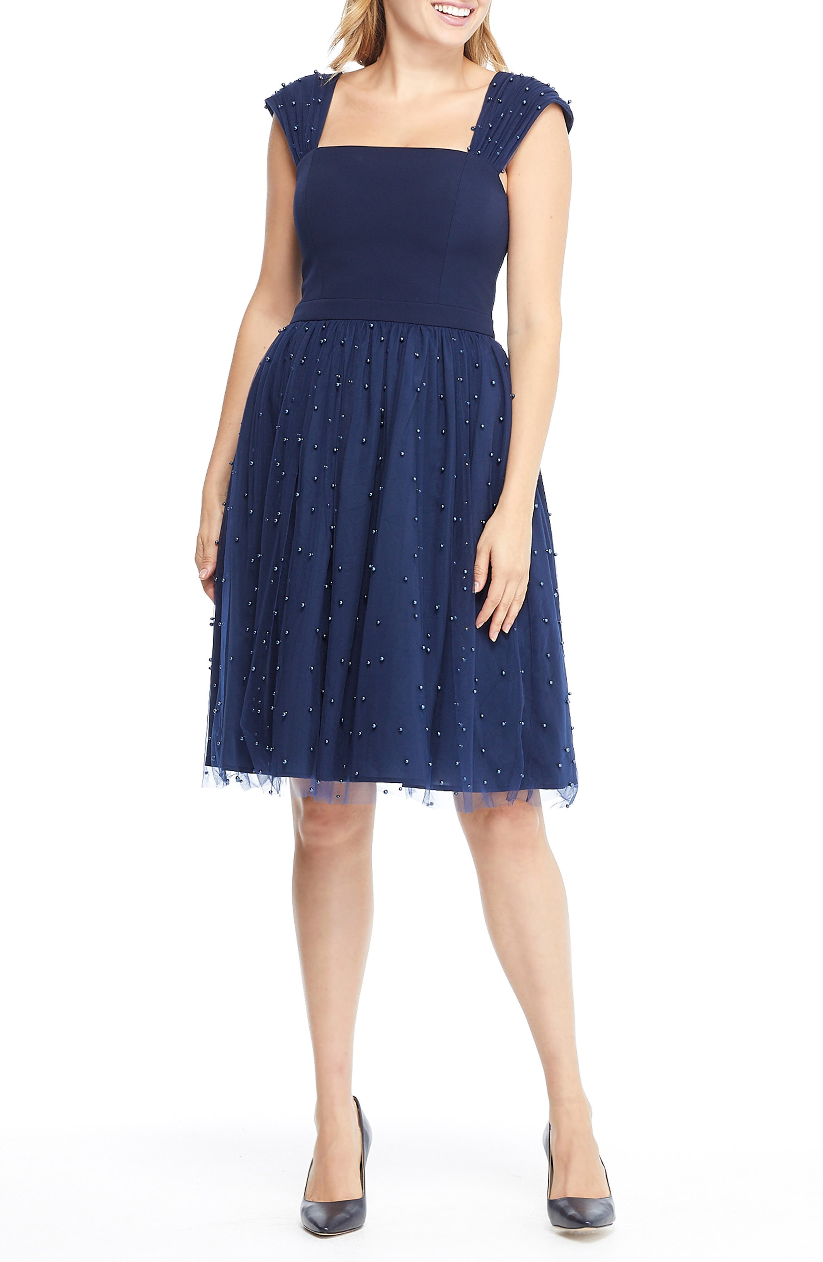 GAL MEETS GLAM COLLECTION,                             Delores Vintage Pearl Mesh & Crepe Dress,                             Alternate thumbnail 5, color,                             NAVY