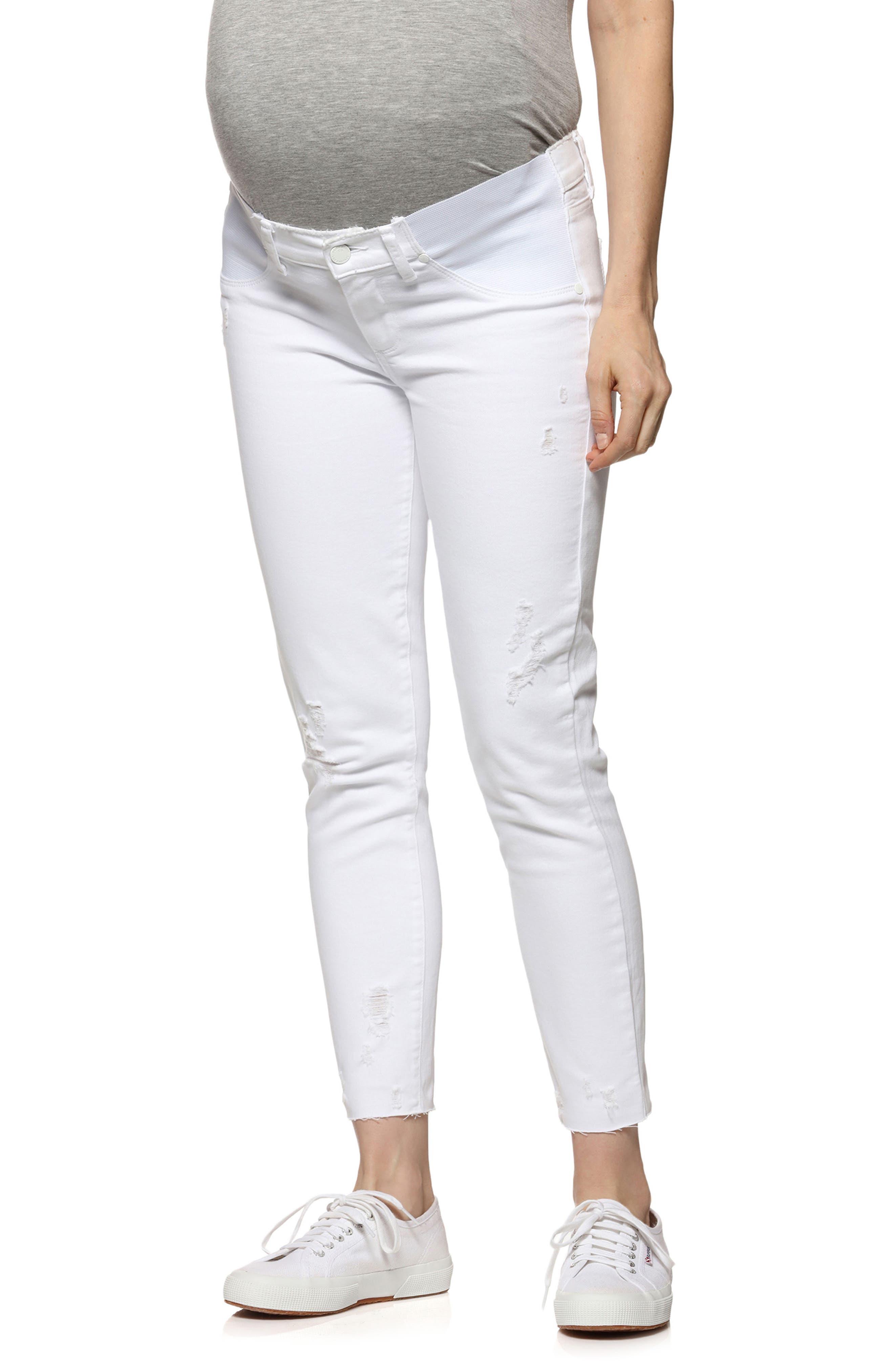 Verdugo Raw Hem Crop Skinny Maternity Jeans,                         Main,                         color, 100