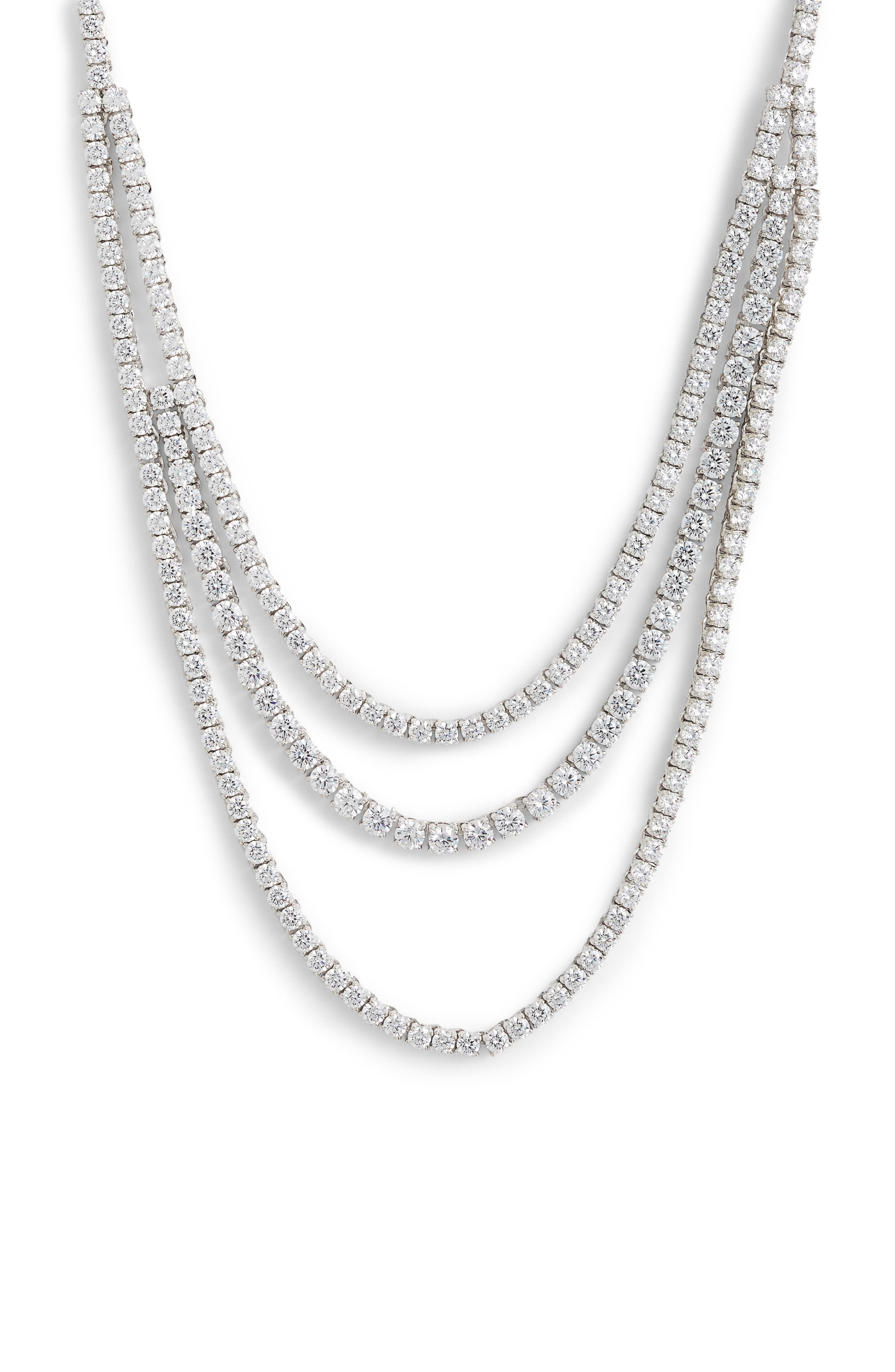 Triple Strand Tennis Necklace,                             Main thumbnail 1, color,                             CLEAR- SILVER