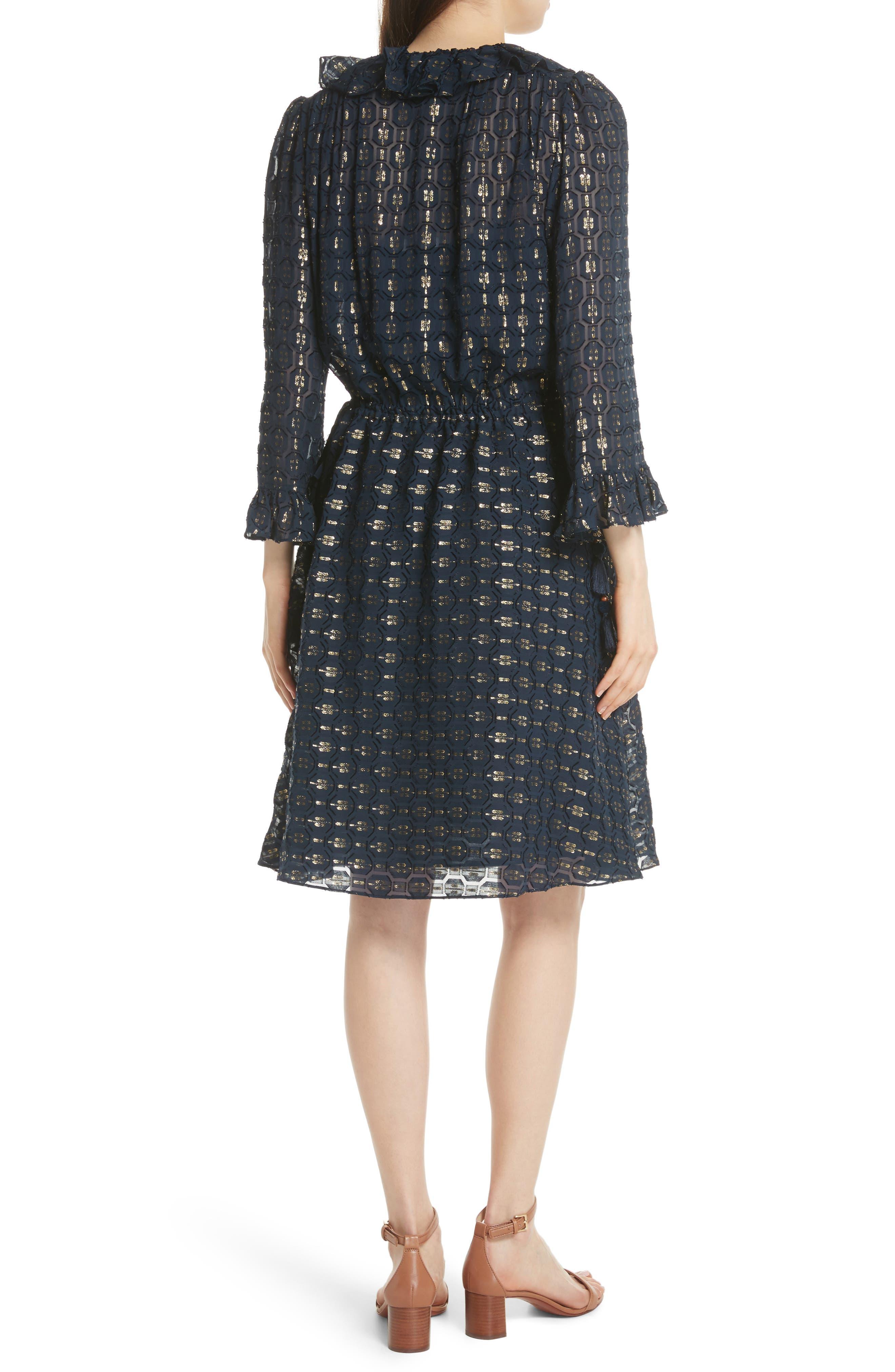 TORY BURCH,                             Jasmine Silk Blend Dress,                             Alternate thumbnail 2, color,                             405