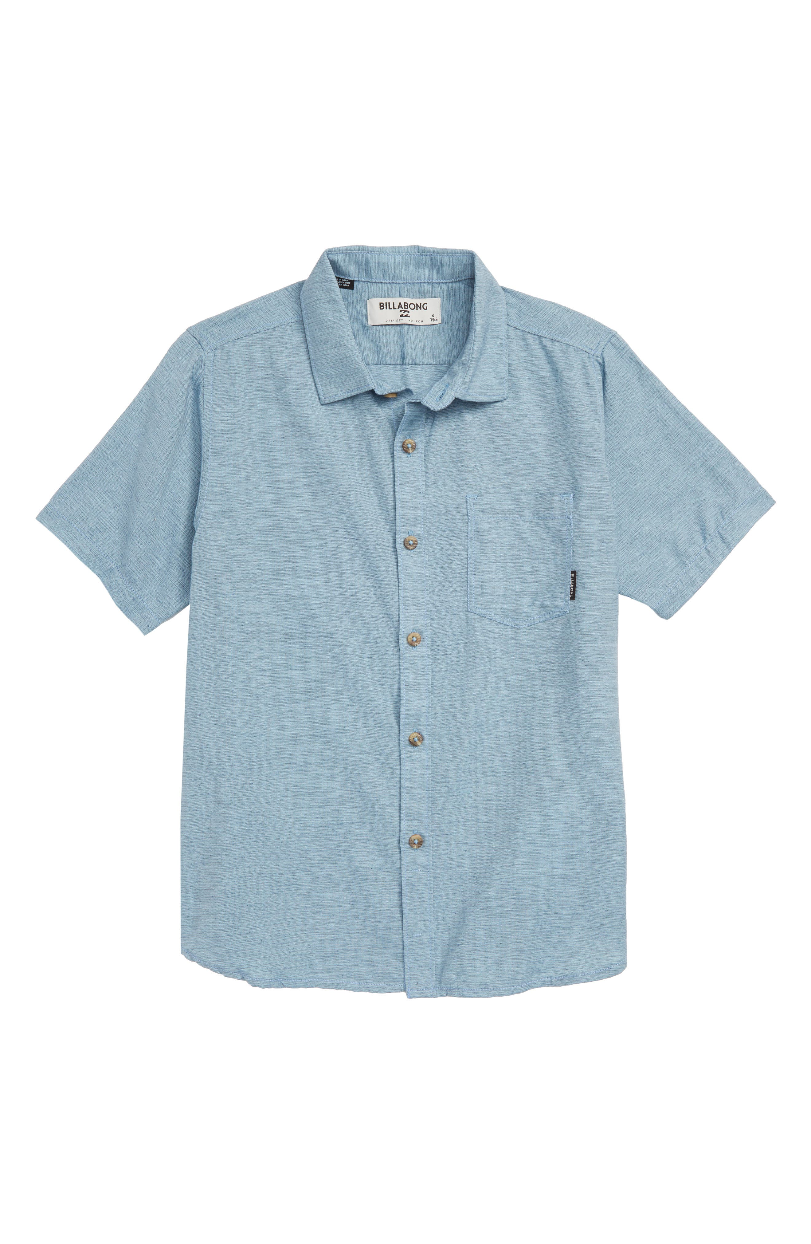 All Day Helix Woven Shirt,                         Main,                         color, WASHED BLUE