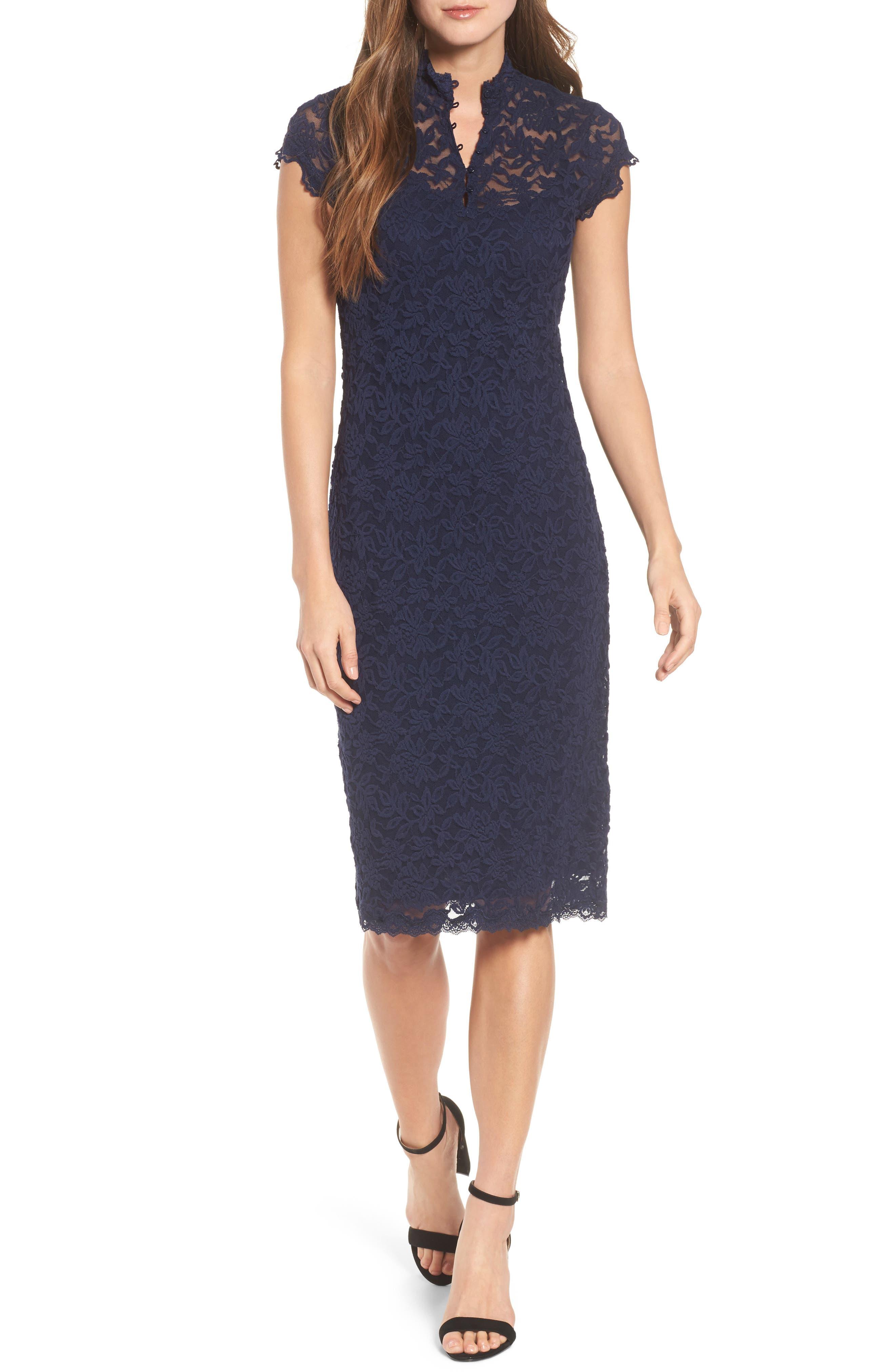 Delicia Lace Body-Con Dress,                             Alternate thumbnail 5, color,                             PALE DOGWOOD