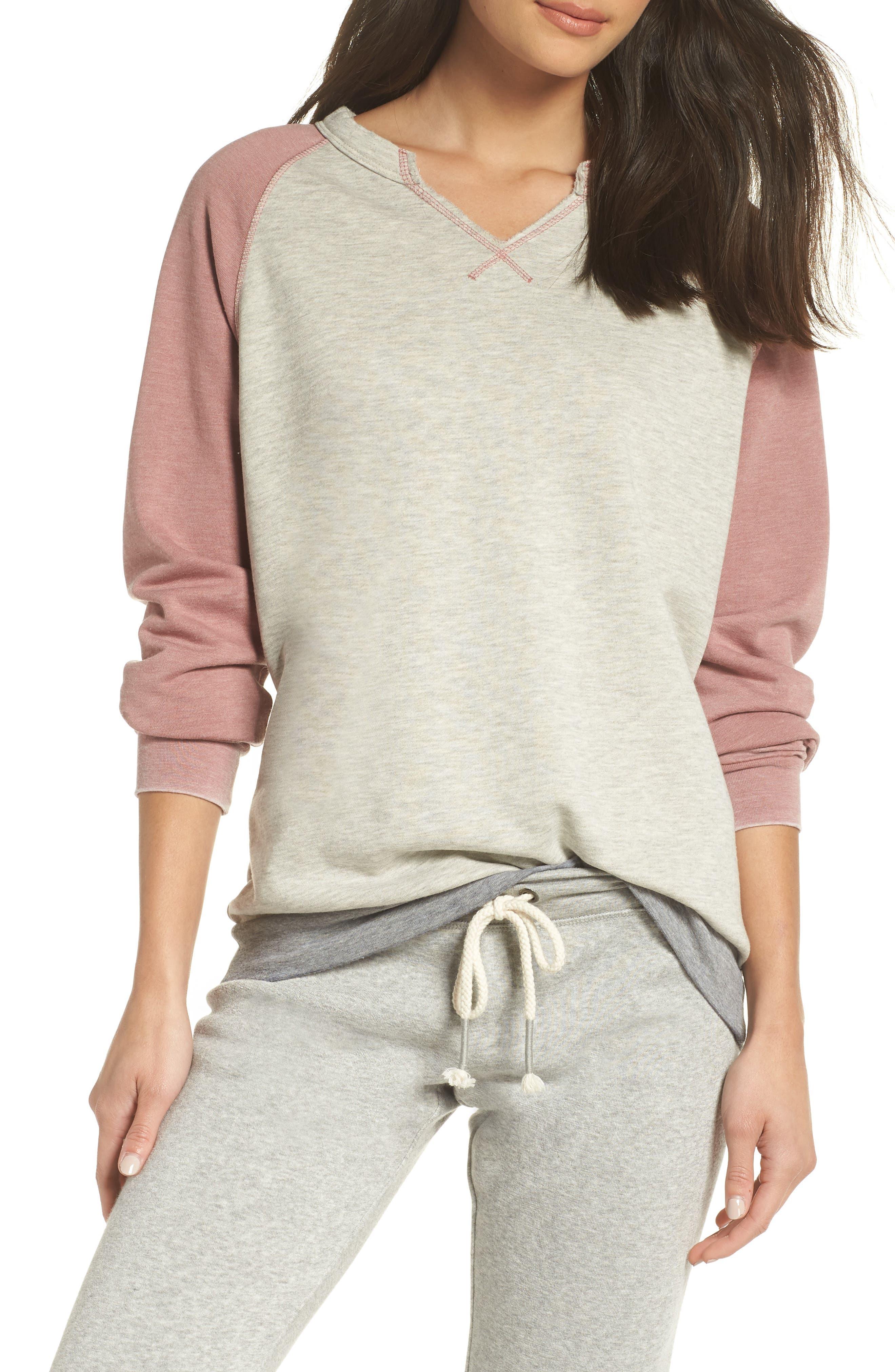 Sweatshirt,                             Main thumbnail 1, color,                             PEBBLE HEATHER / MAUVE