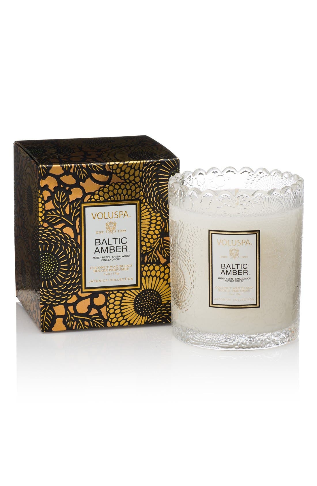 Japonica Baltic Amber Scalloped Edge Embossed Glass Candle,                             Main thumbnail 1, color,                             NO COLOR