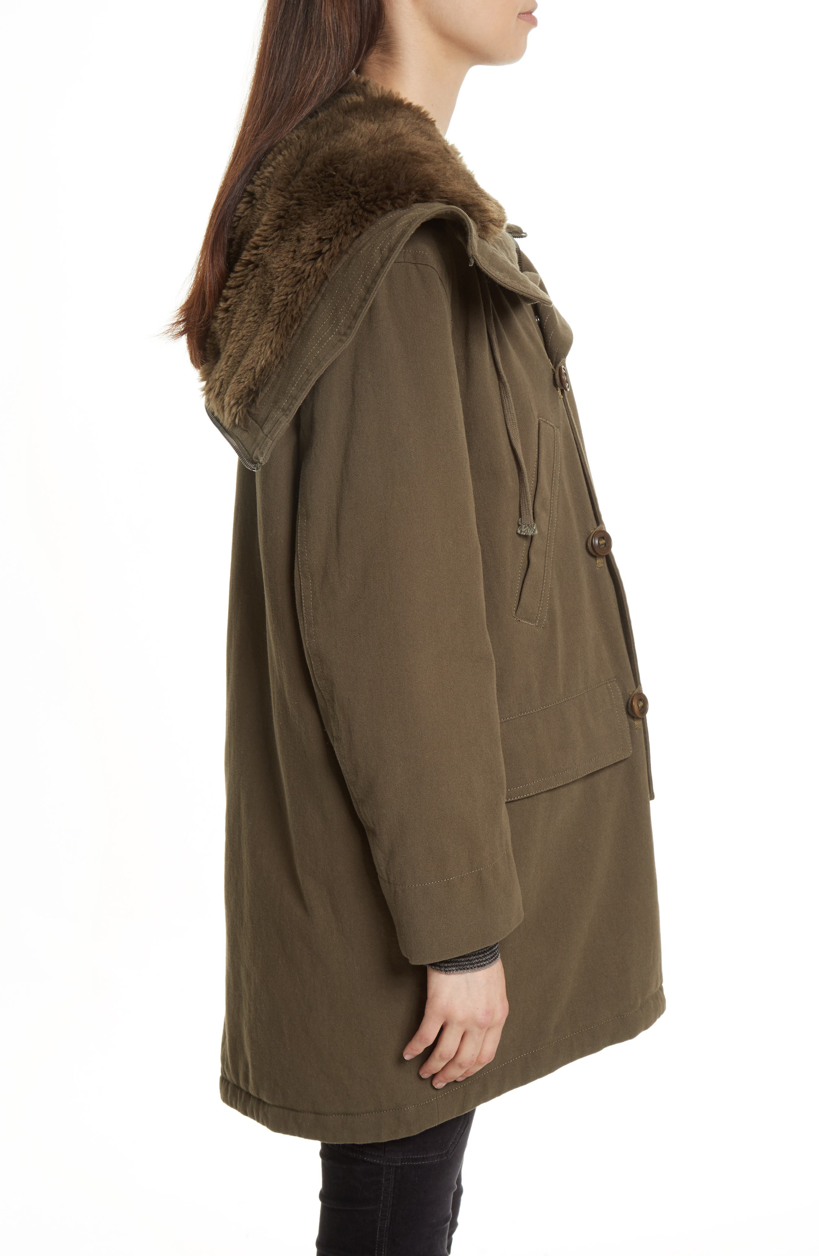 Faux Fur Trim Military Parka,                             Alternate thumbnail 3, color,                             310