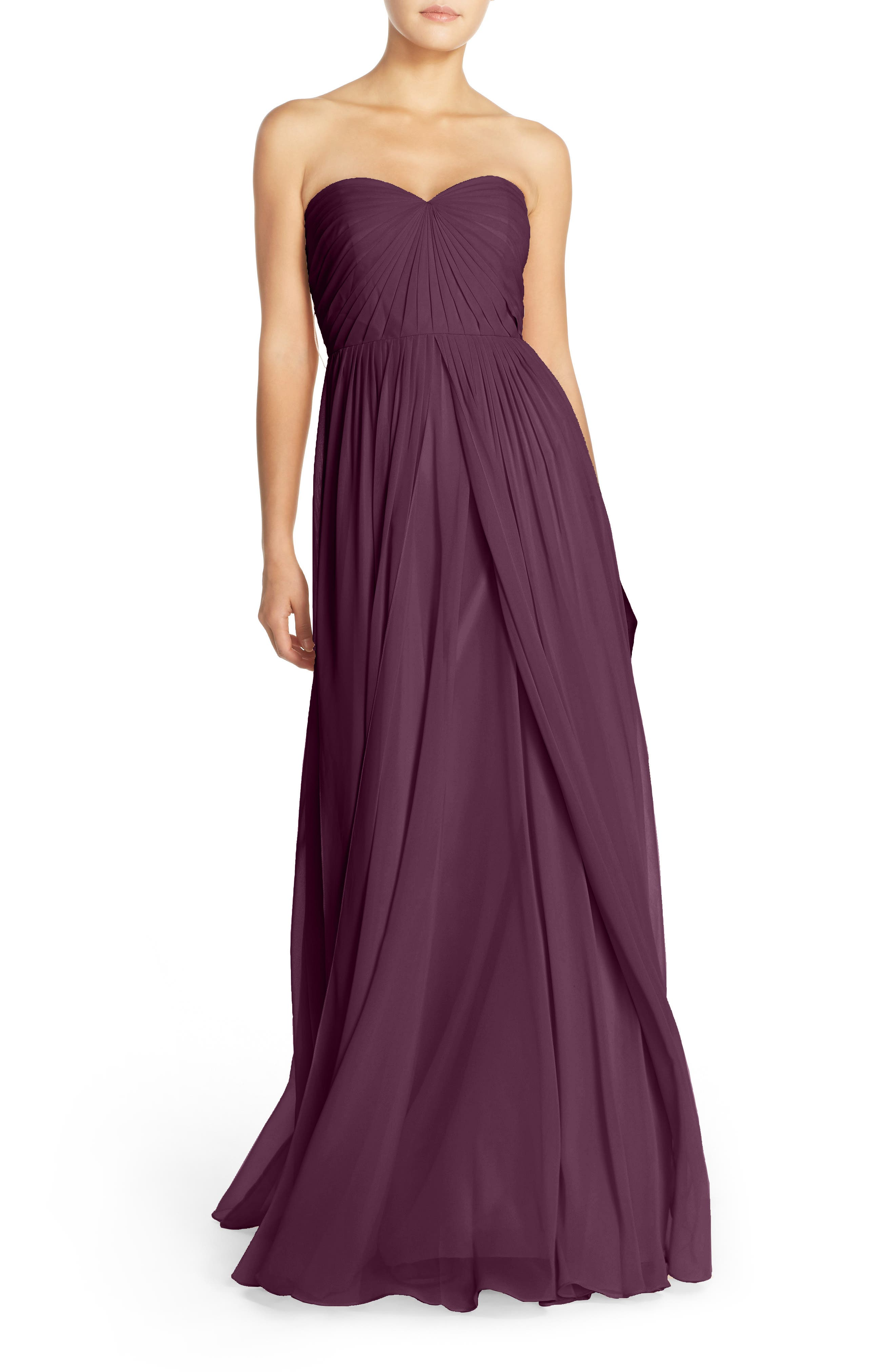 Jenny Yoo Mira Convertible Strapless Chiffon Gown, Burgundy
