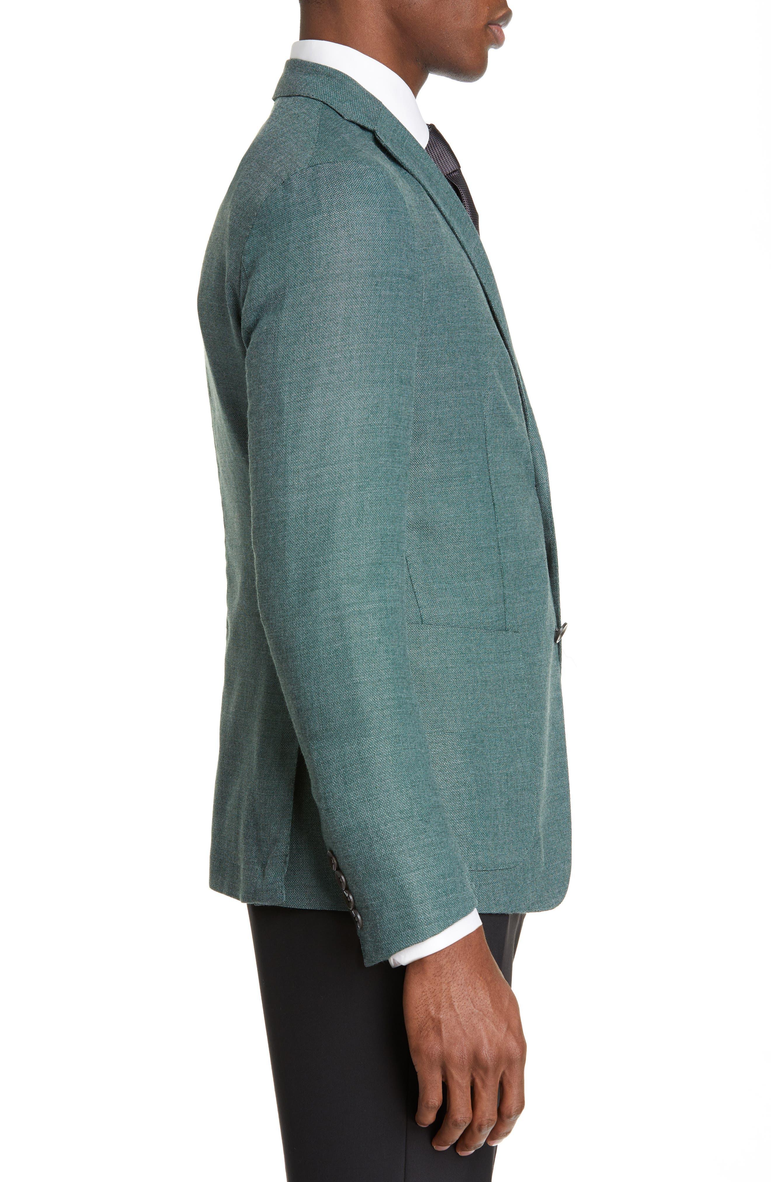 BOGLIOLI,                             Slim Fit Hopsack Wool Blend Sport Coat,                             Alternate thumbnail 3, color,                             FORREST GREEN