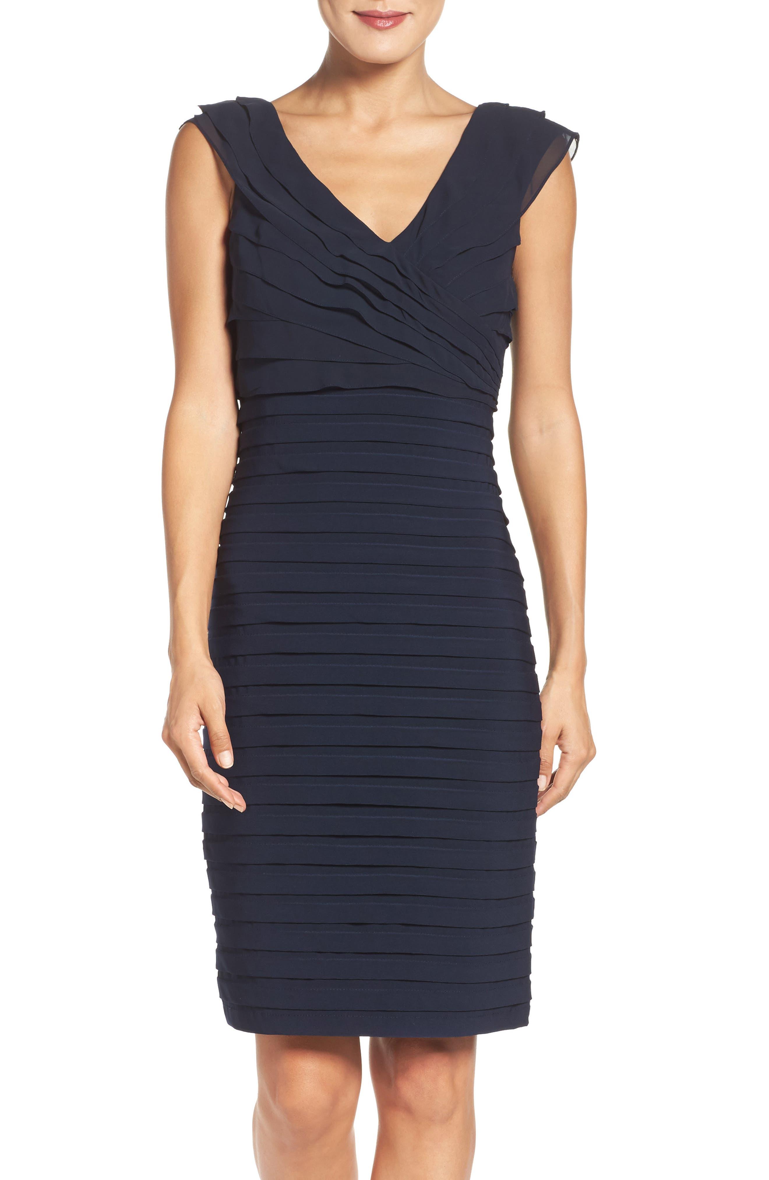 Chiffon & Jersey Sheath Dress,                             Alternate thumbnail 2, color,                             408