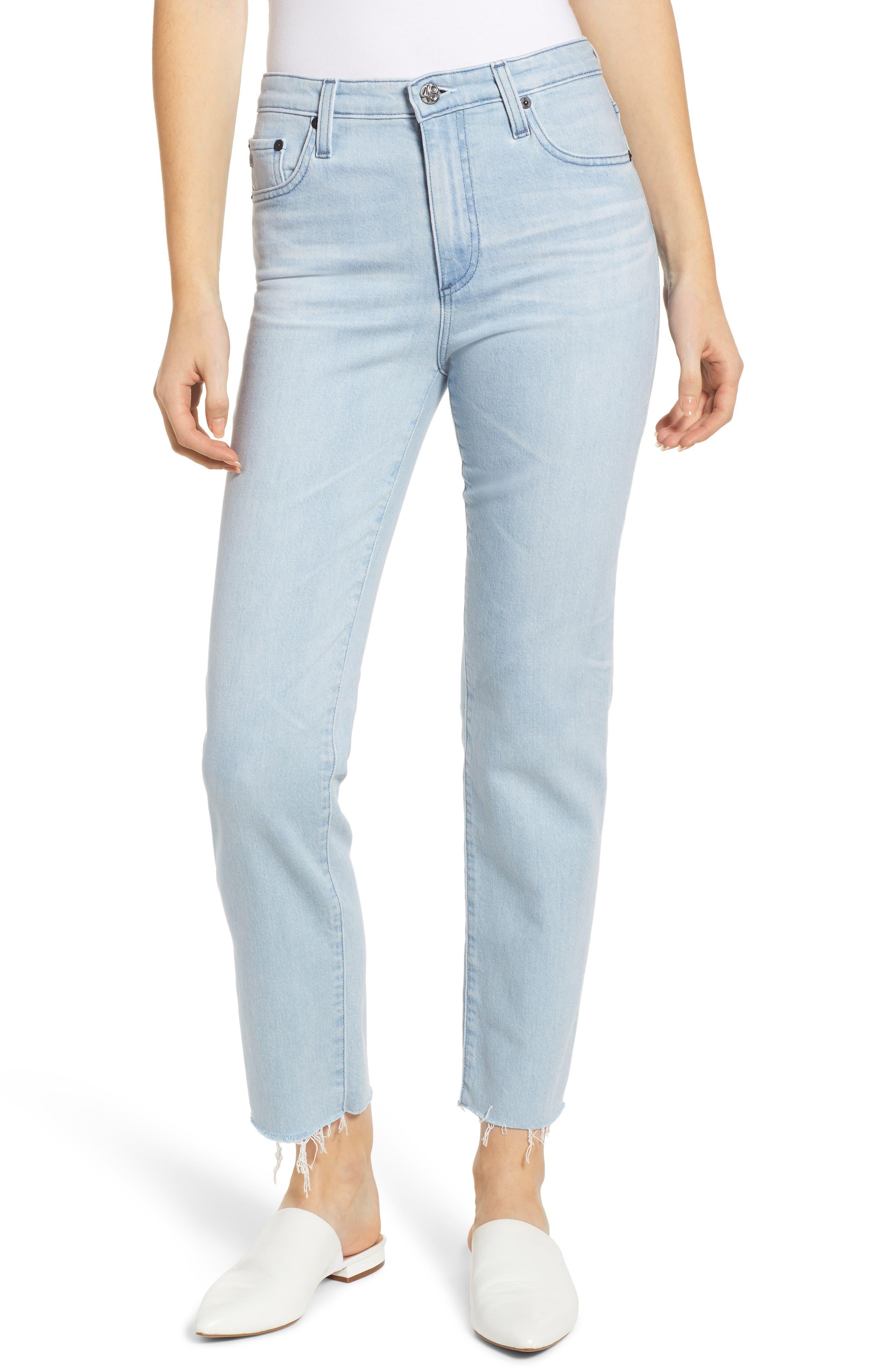 AG,                             The Isabelle High Waist Crop Straight Leg Jeans,                             Main thumbnail 1, color,                             26 YEARS SANGUINE
