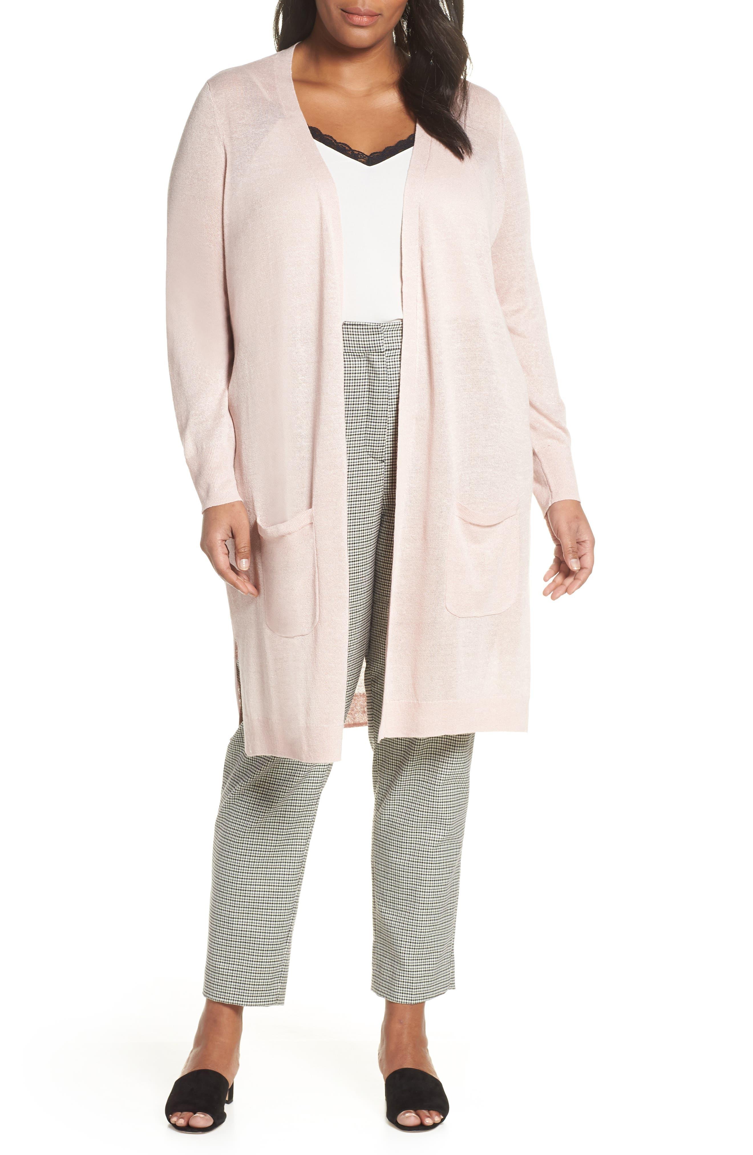 Plus Size Halogen Long Cardigan, Pink
