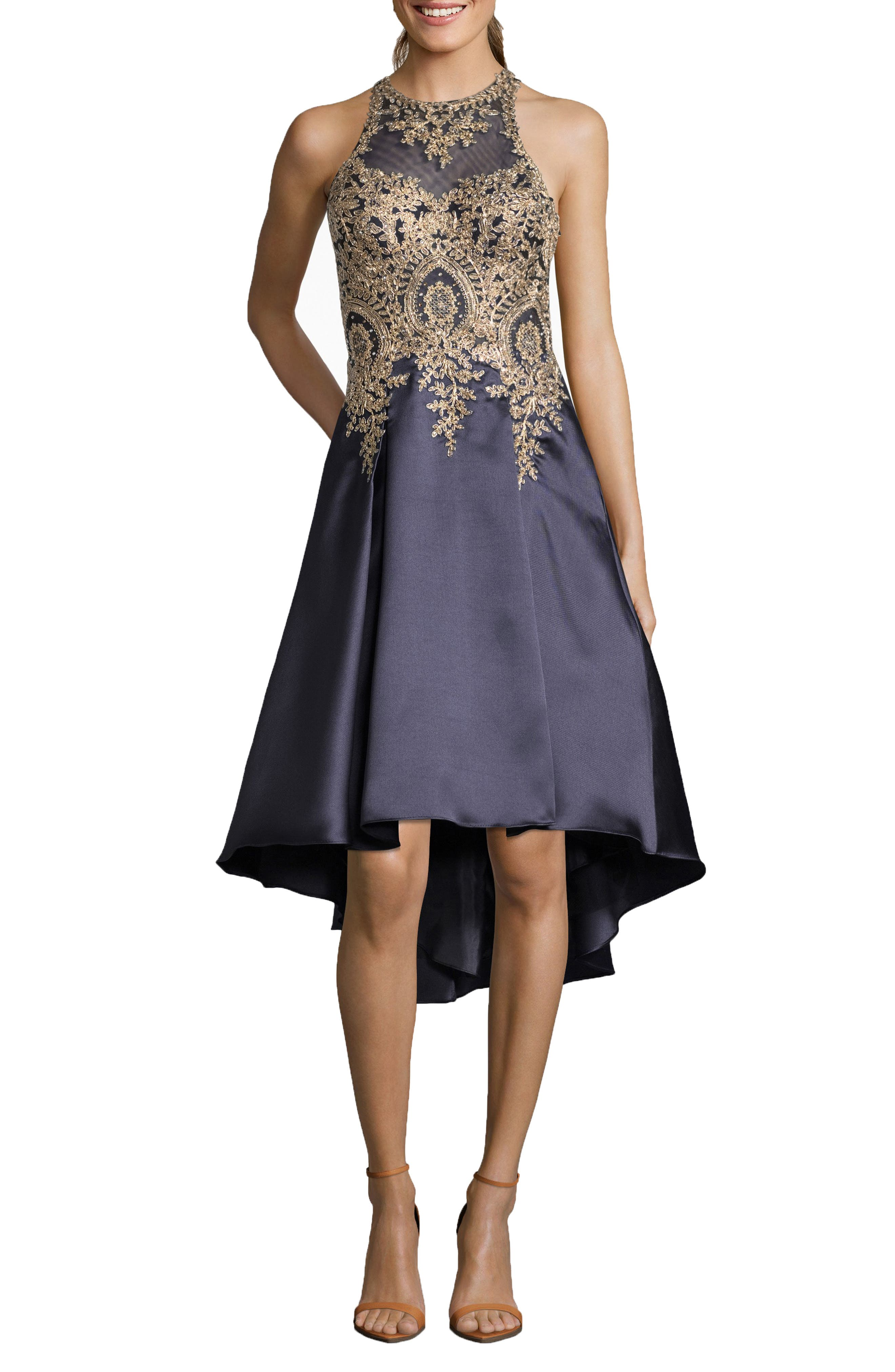 Embroidered High/Low Mikado Cocktail Dress,                             Main thumbnail 1, color,                             NAVY/ GOLD