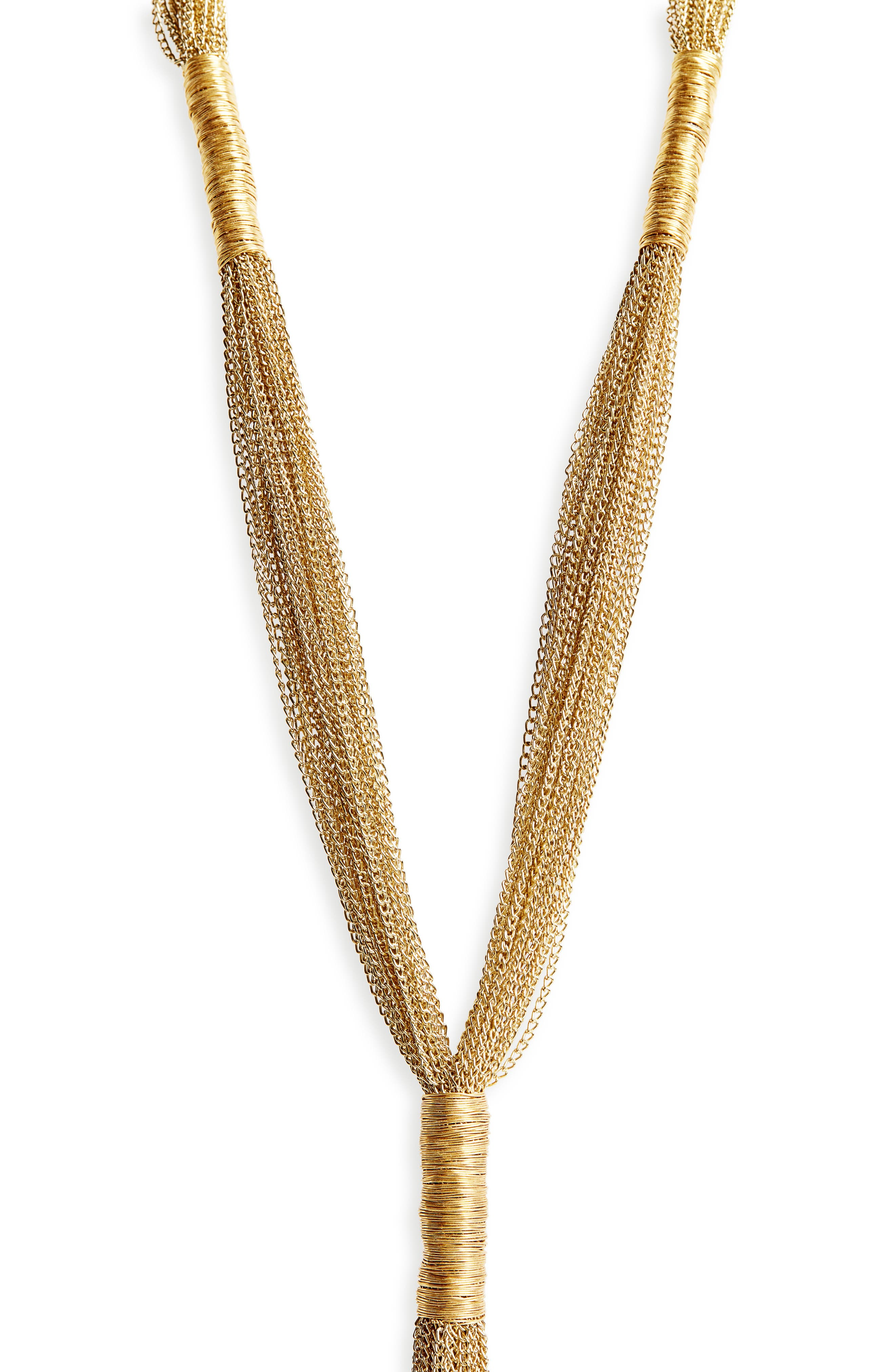 Normandie Multistrand Y-Necklace,                             Alternate thumbnail 2, color,                             GOLD