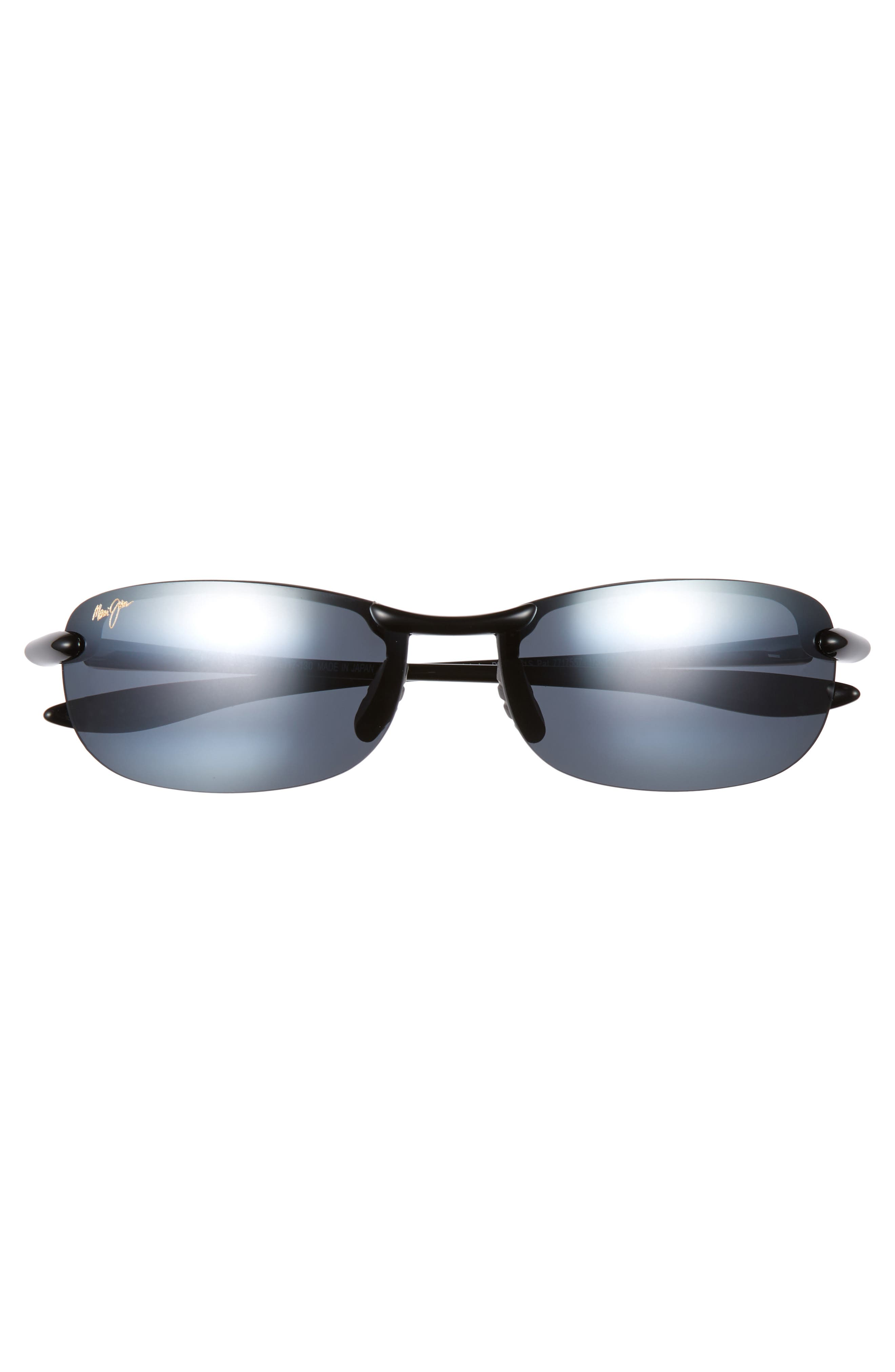MAUI JIM,                             'Makaha - PolarizedPlus<sup>®</sup>2' 63mm Sunglasses,                             Alternate thumbnail 3, color,                             BLK