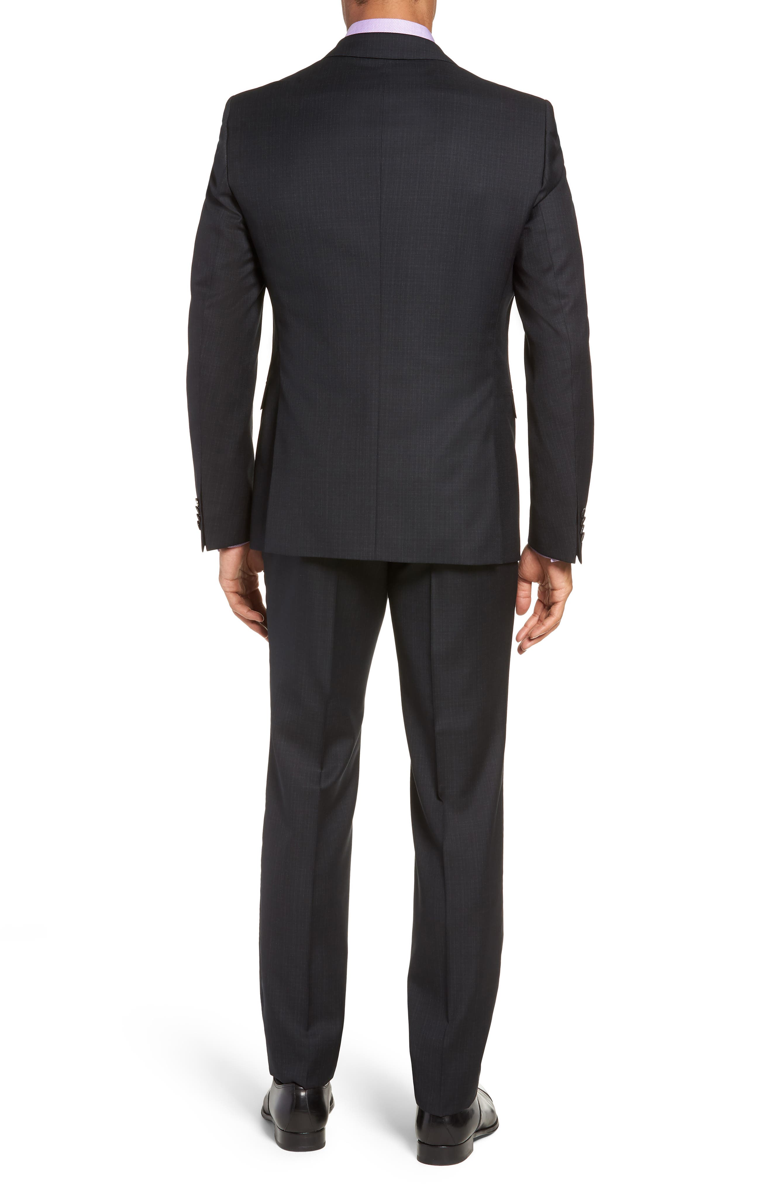 Reymond/Wenten Extra Trim Fit Check Wool Suit,                             Alternate thumbnail 2, color,                             BLACK