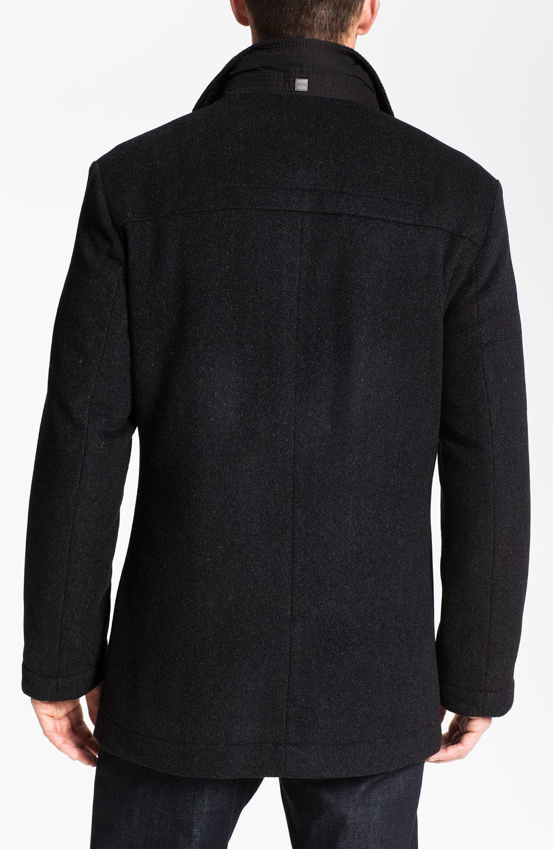HUGO BOSS 'Coxtan' Wool & Cashmere Coat,                             Alternate thumbnail 2, color,                             001