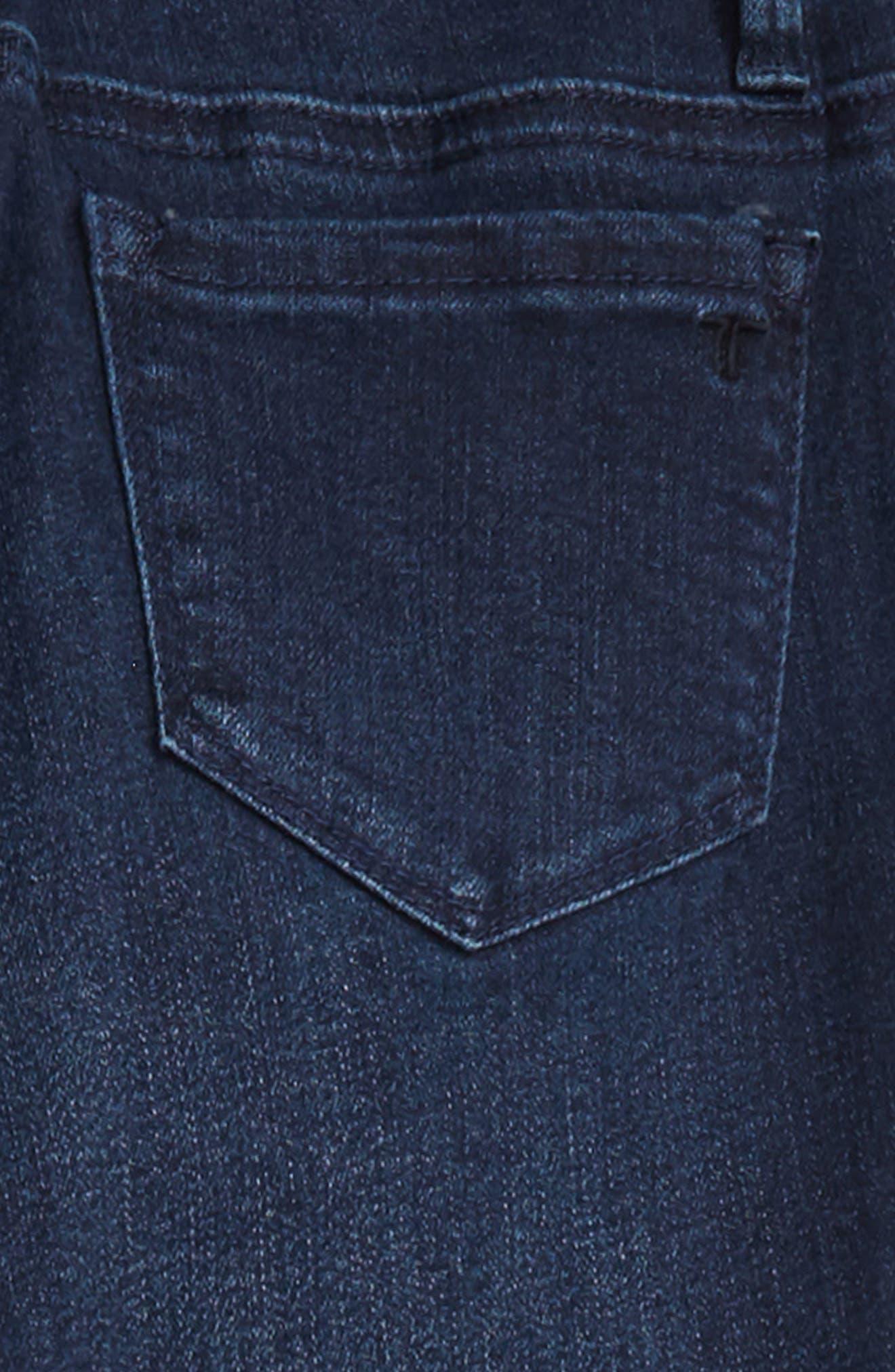 Studded Fray Hem Skinny Jeans,                             Alternate thumbnail 3, color,                             INDIGO