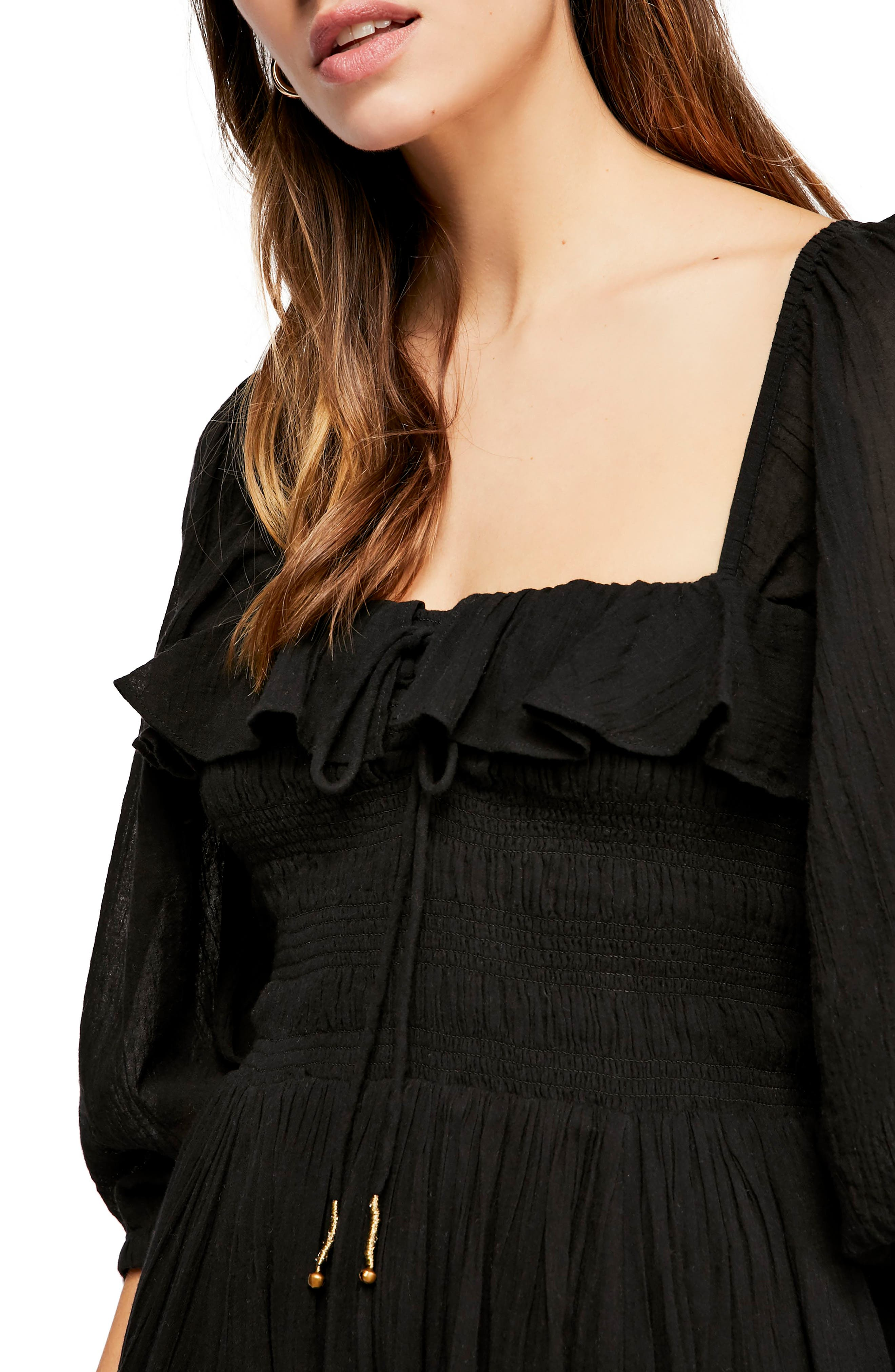 Endless Summer by Free People Ruffle Maxi Dress,                             Alternate thumbnail 3, color,                             BLACK