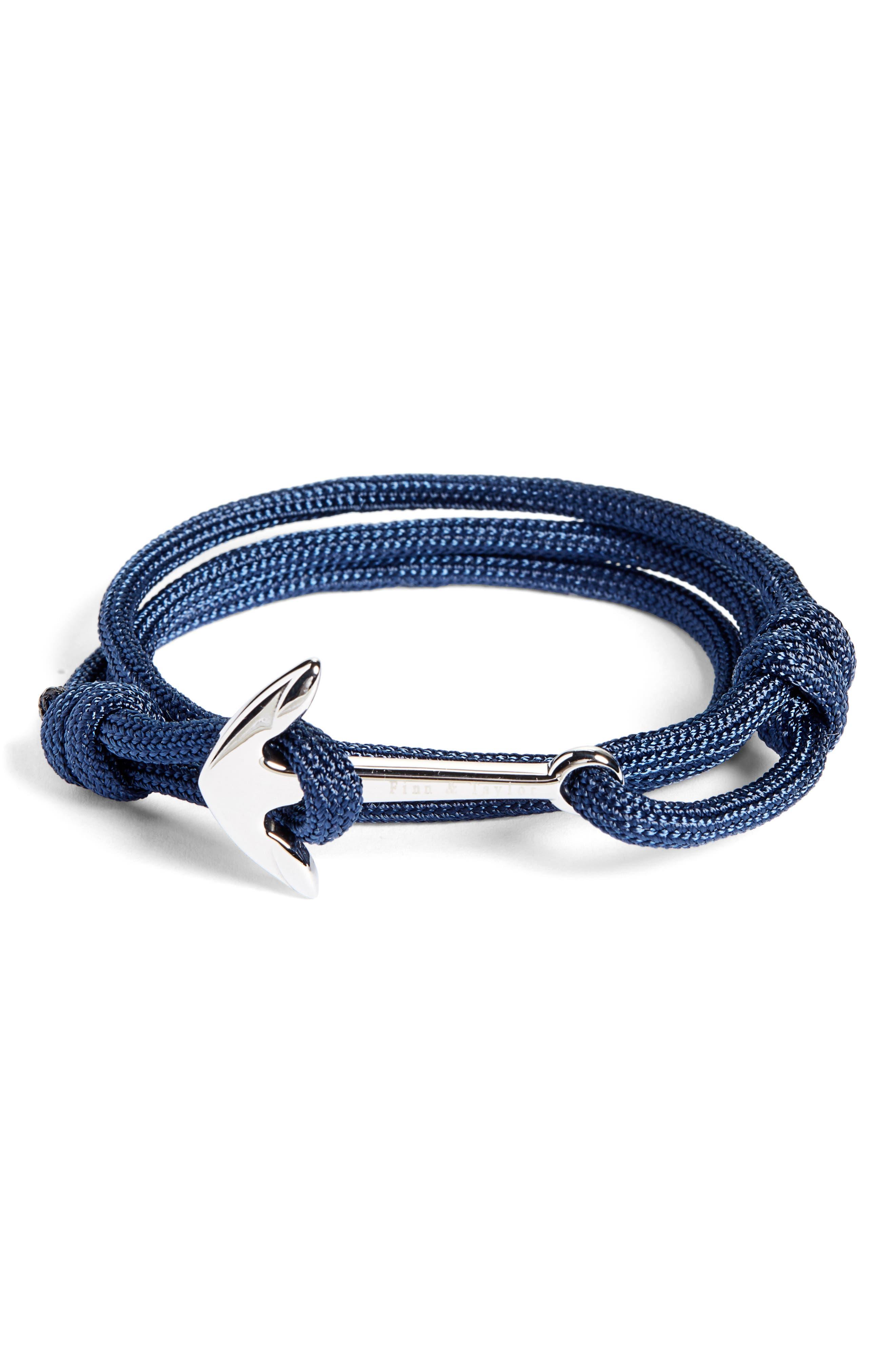 Cord Wrap Bracelet,                         Main,                         color, NAVY