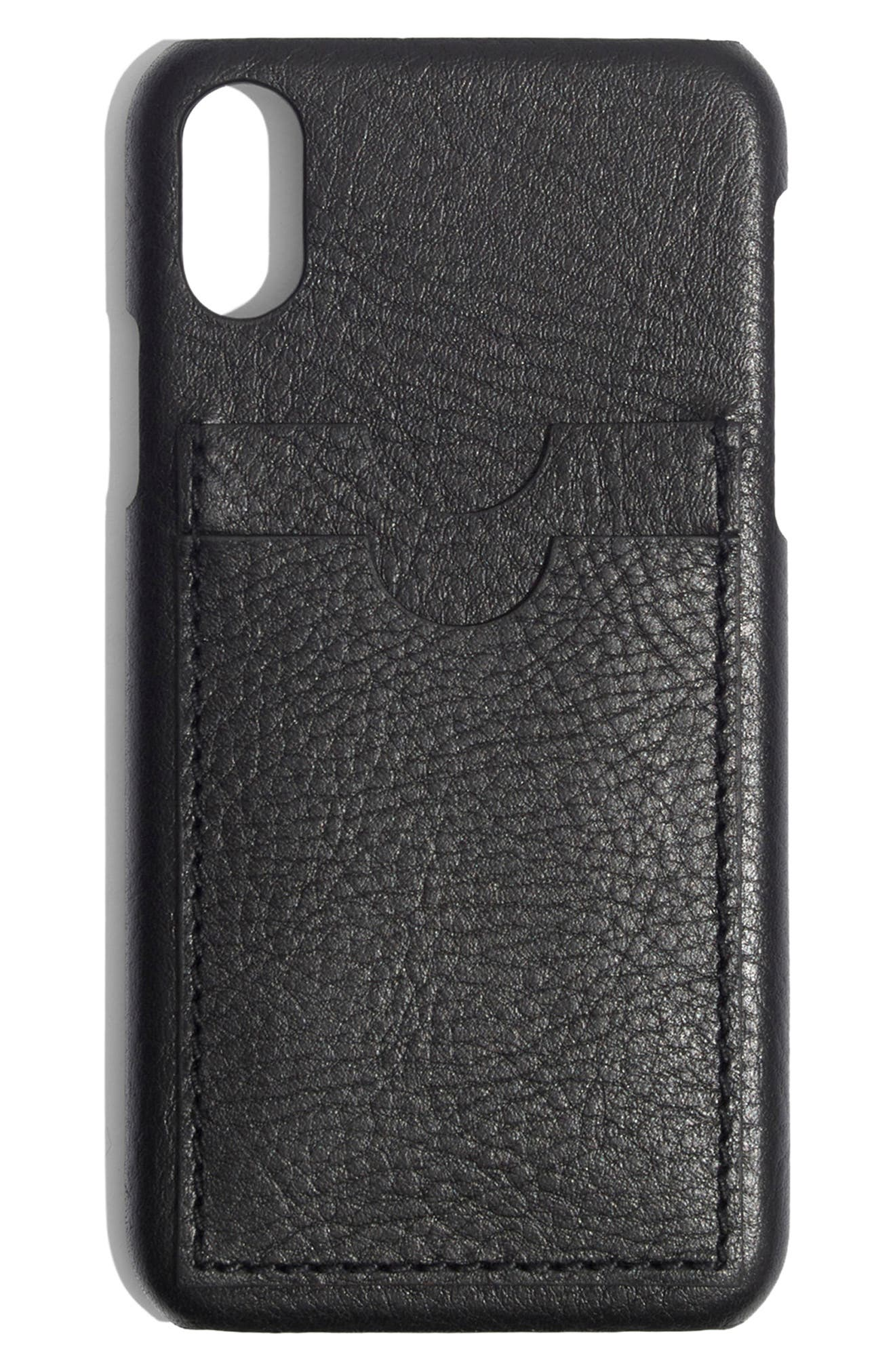 MADEWELL,                             Card Slot Leather iPhone X/Xs Case,                             Main thumbnail 1, color,                             001