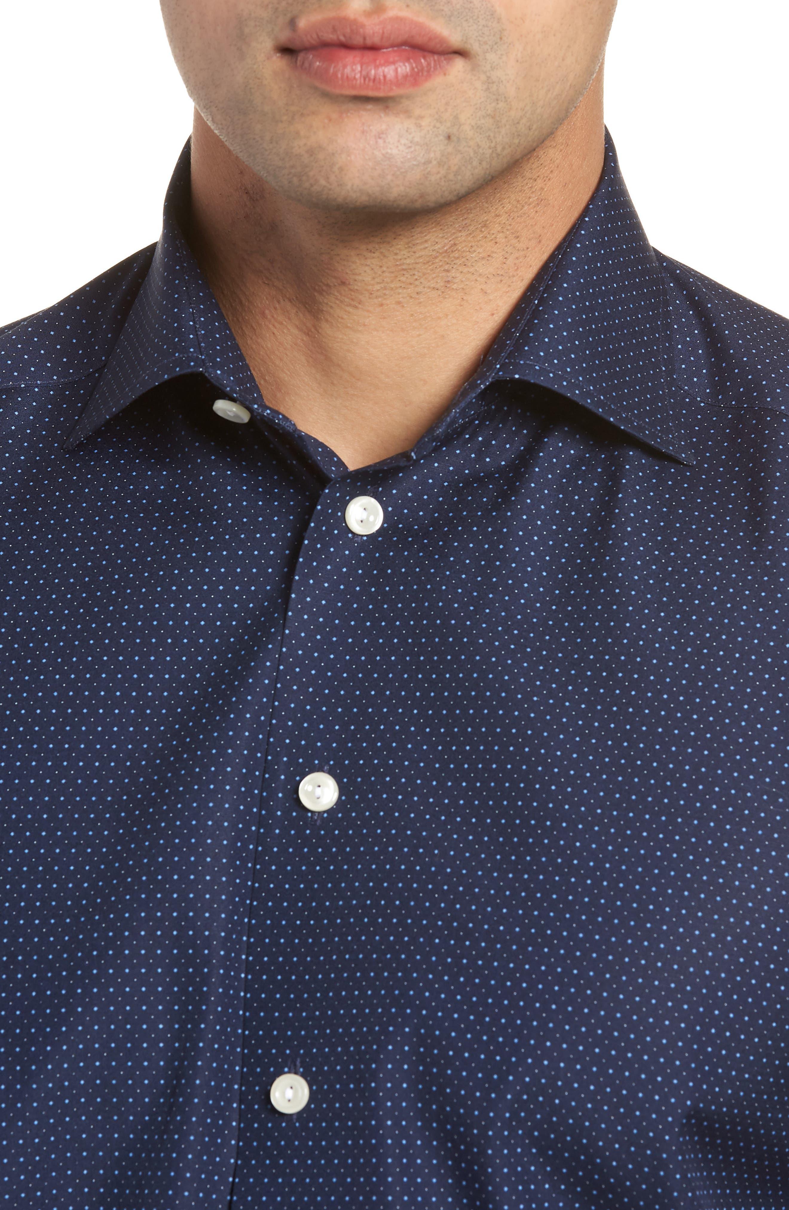 Contemporary Fit Dot Dress Shirt,                             Alternate thumbnail 4, color,