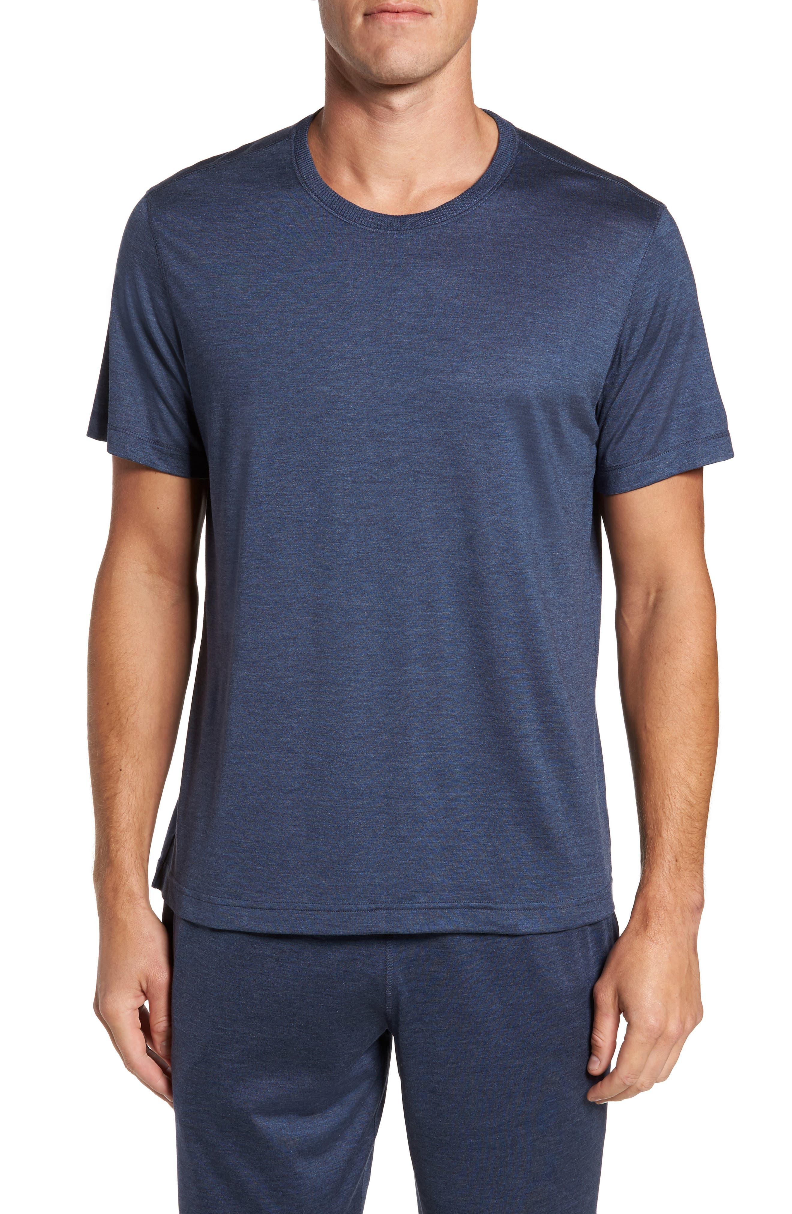 Silk & Cotton Crewneck T-Shirt,                         Main,                         color, NAVY HEATHER