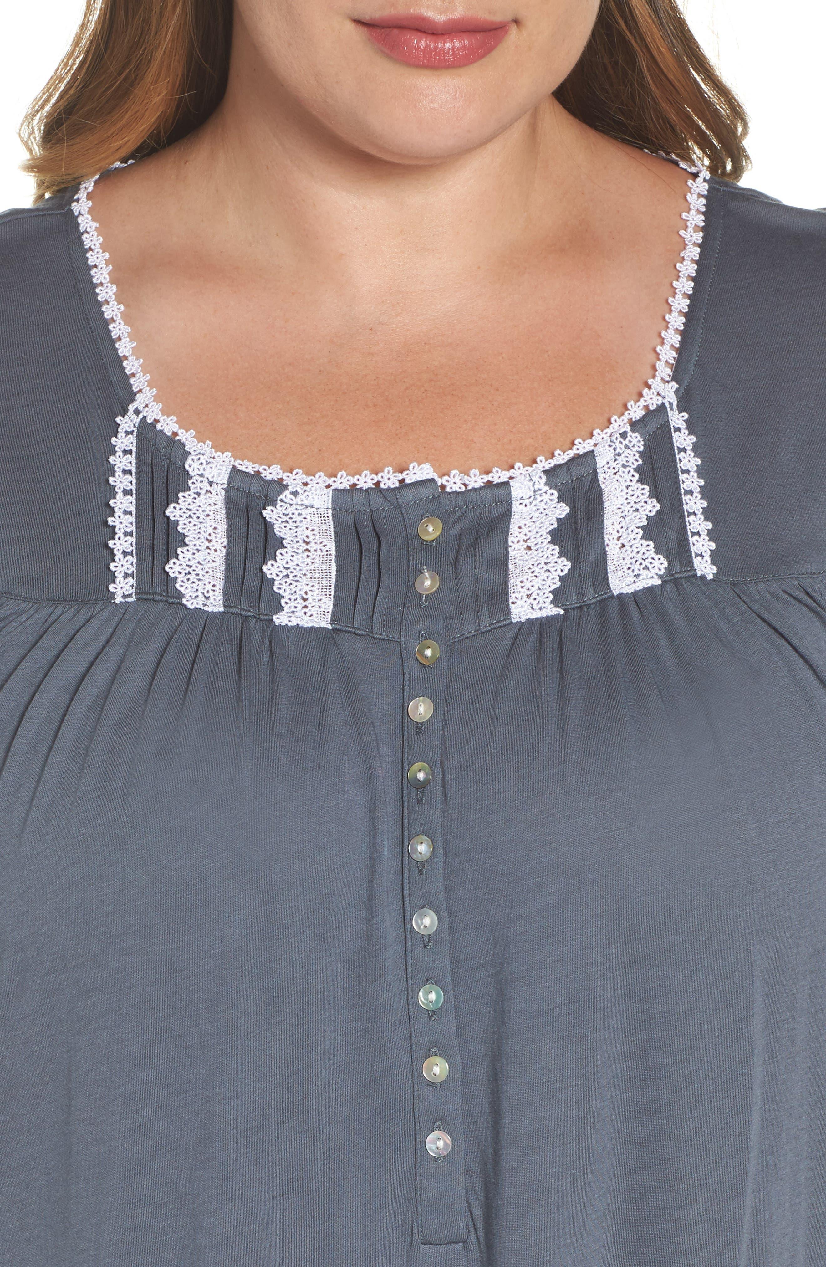Cotton & Modal Long Nightgown,                             Alternate thumbnail 4, color,