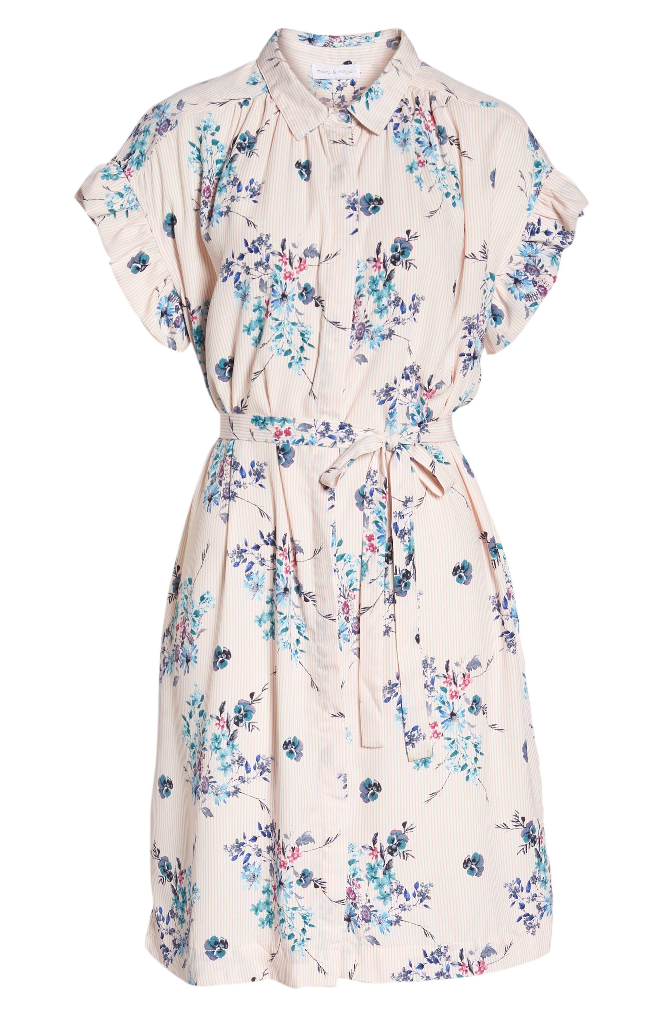 MARY & MABEL,                             Ruffle Sleeve Shirt Dress,                             Alternate thumbnail 7, color,                             652