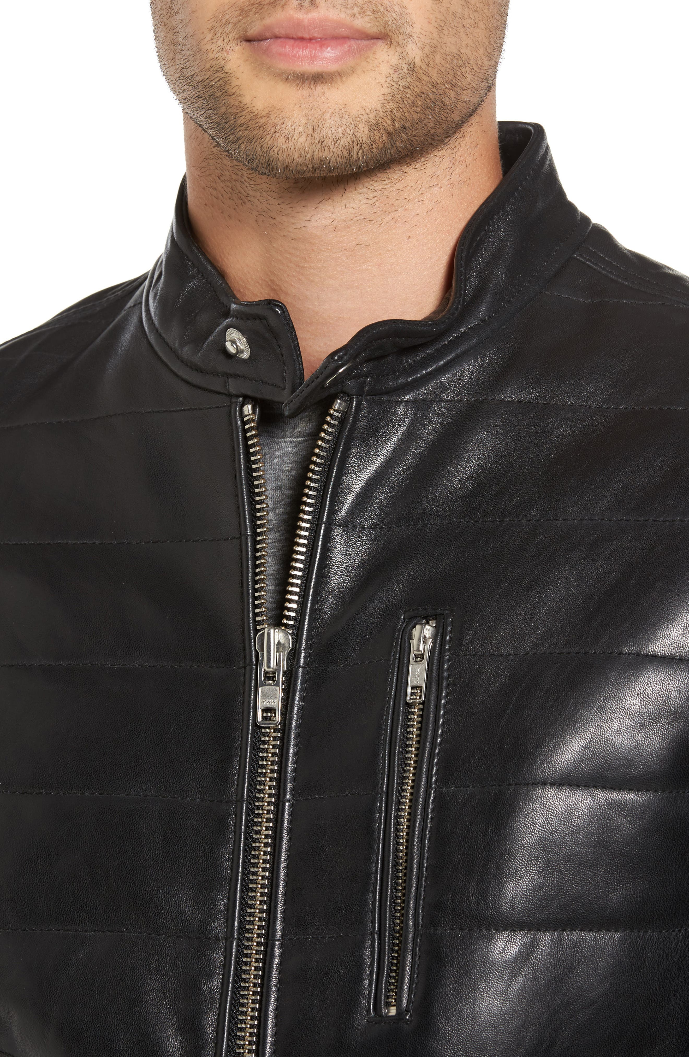 Quilted Leather Moto Jacket,                             Alternate thumbnail 4, color,                             001