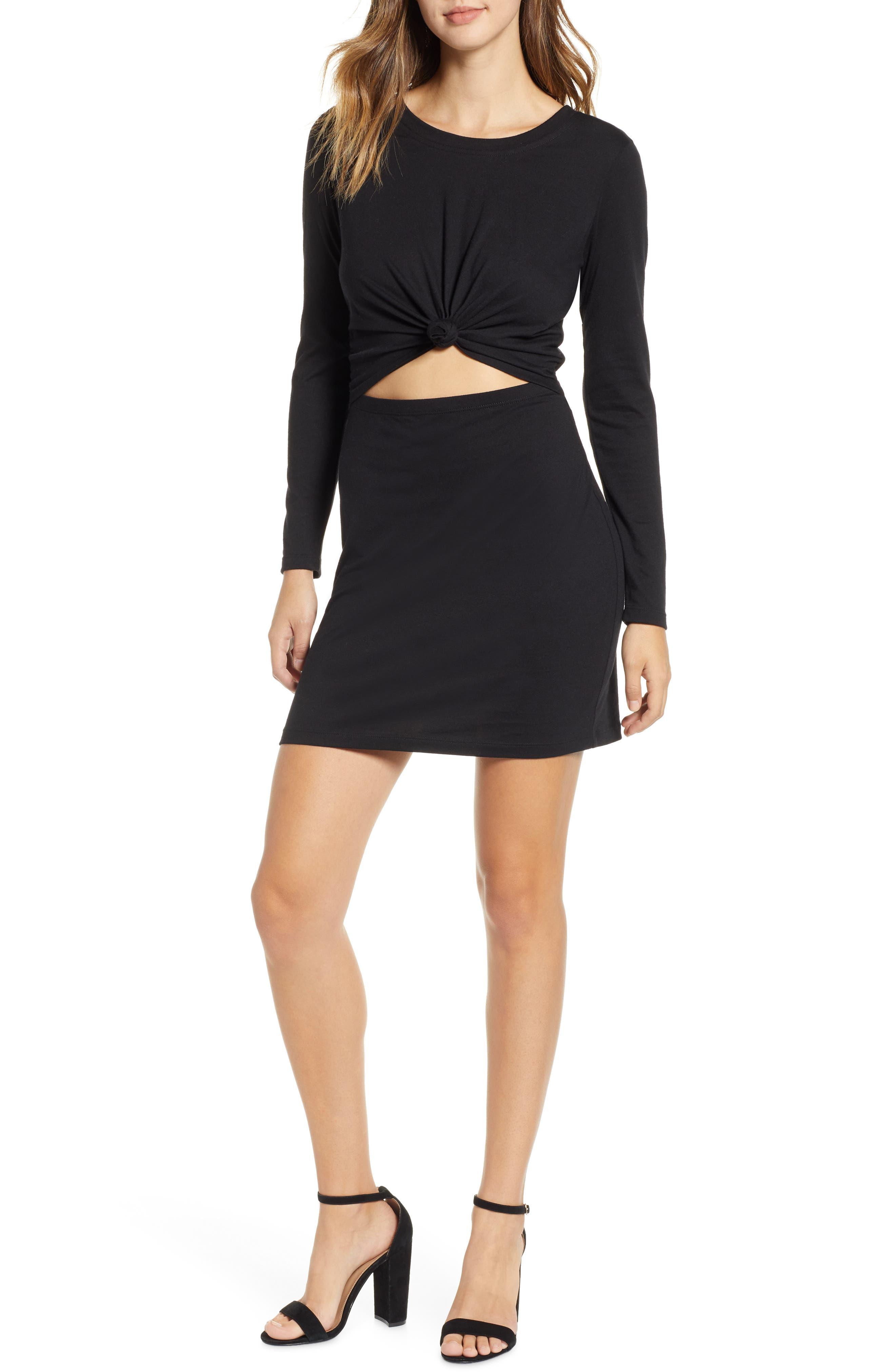 Socialite Knot Front Cutout Dress, Black