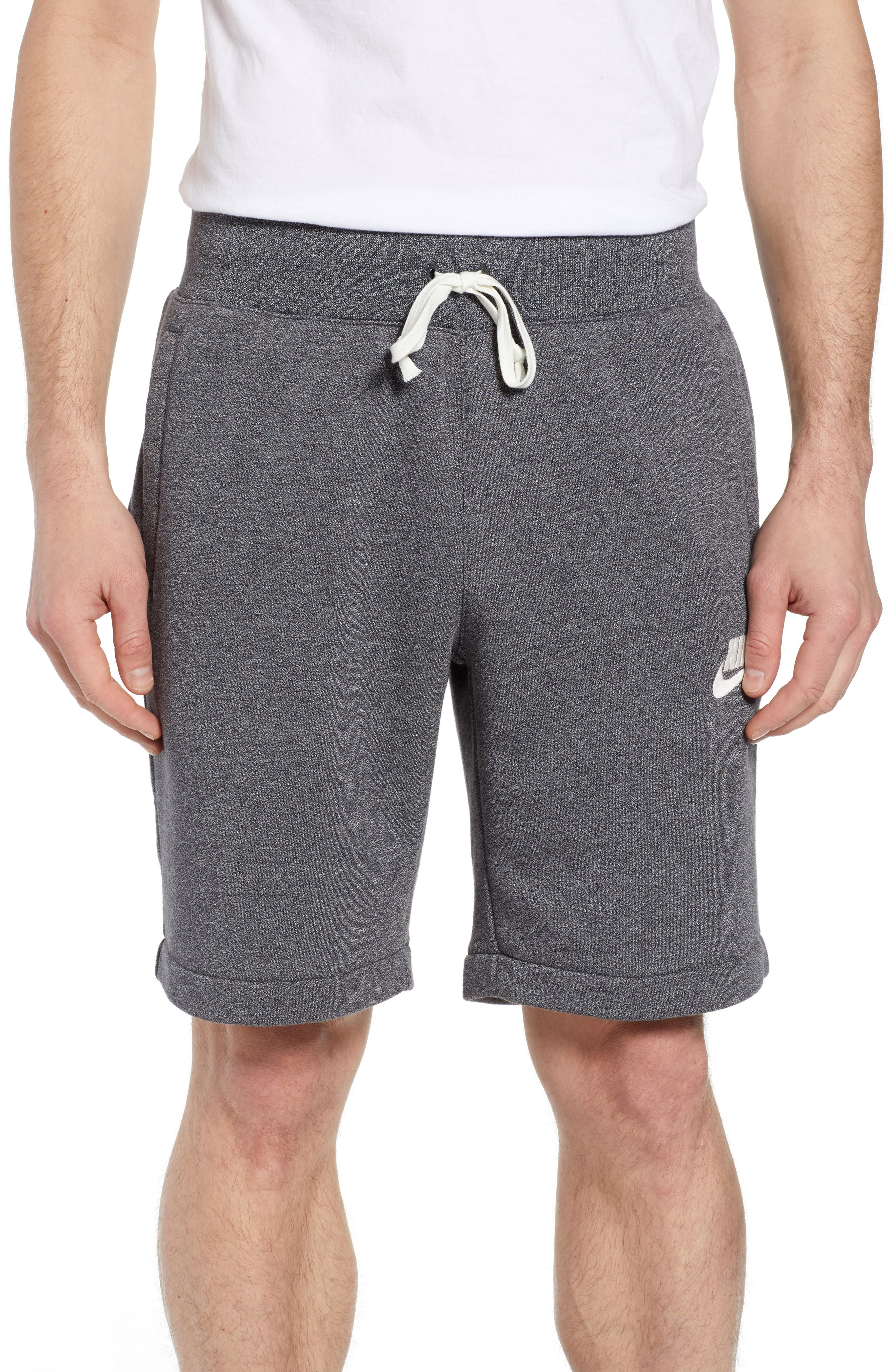 Heritage Knit Shorts,                             Main thumbnail 1, color,                             BLACK/ HEATHER/ SAIL