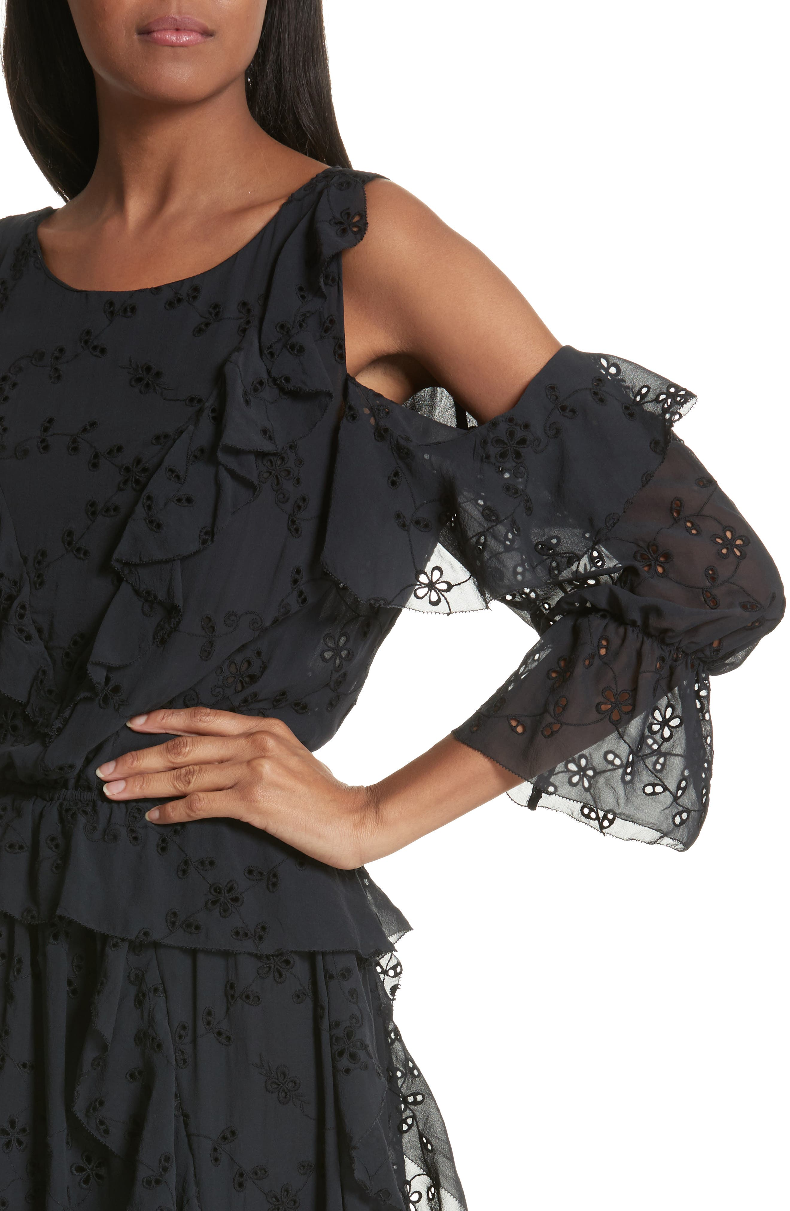 Alpheus Cold Shoulder Ruffled Silk Dress,                             Alternate thumbnail 4, color,                             008