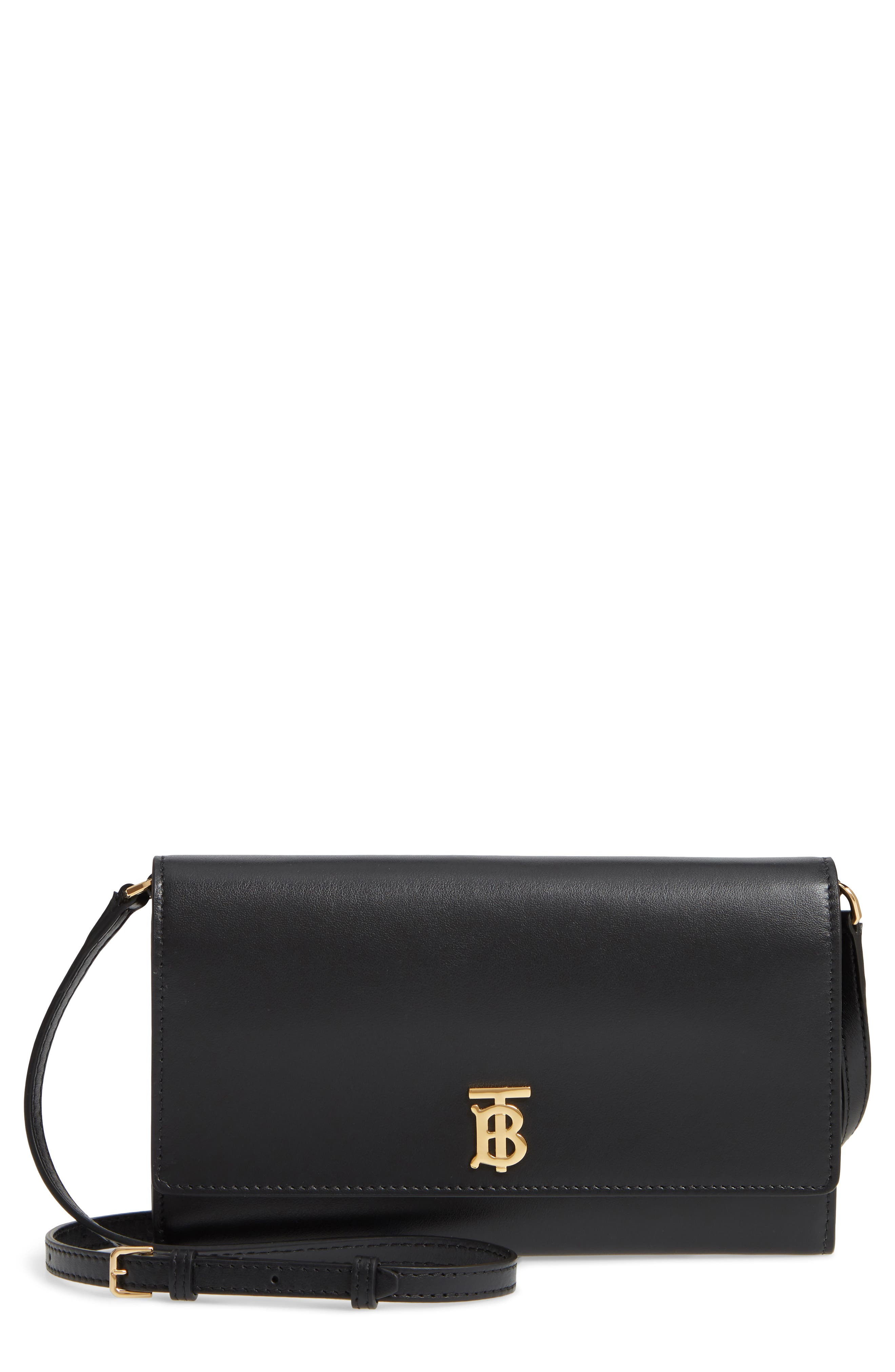 BURBERRY,                             Hazelmere Leather Crossbody Wallet,                             Main thumbnail 1, color,                             BLACK