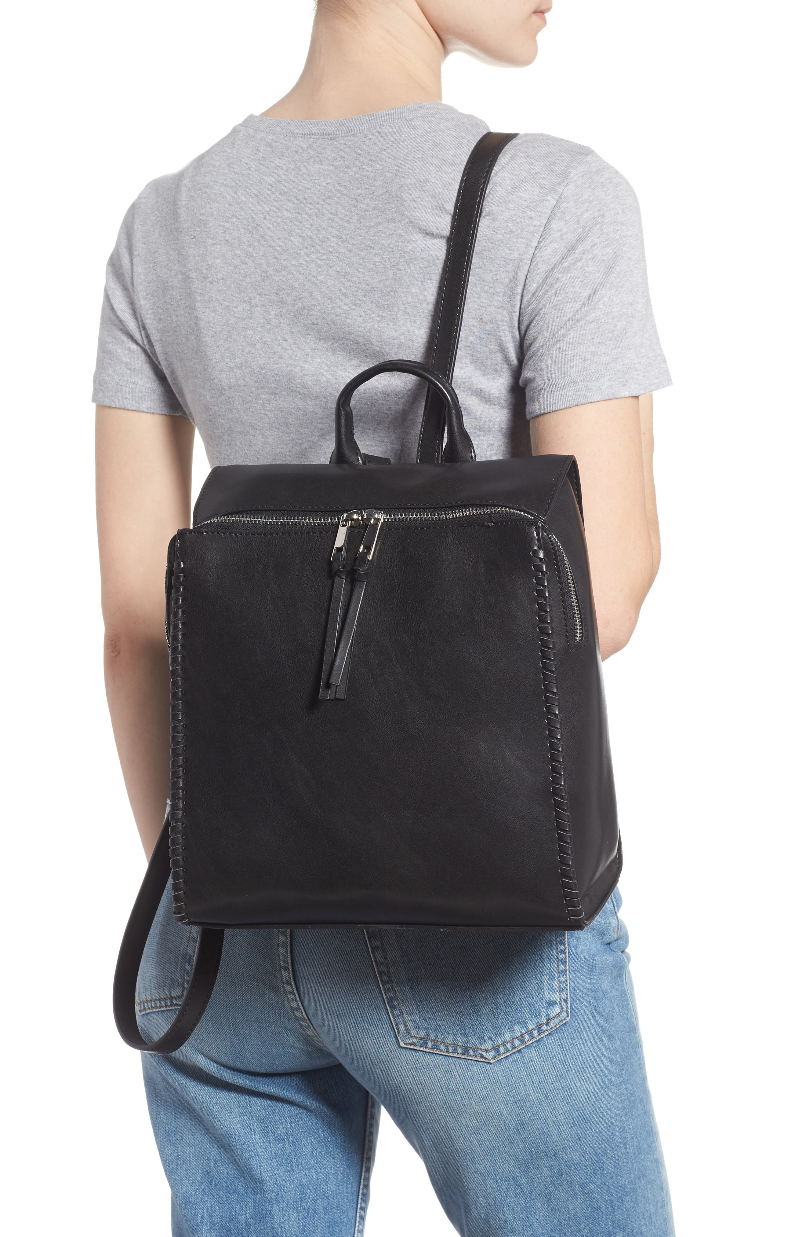 Whipstitch Faux Leather Square Backpack,                             Alternate thumbnail 2, color,                             001