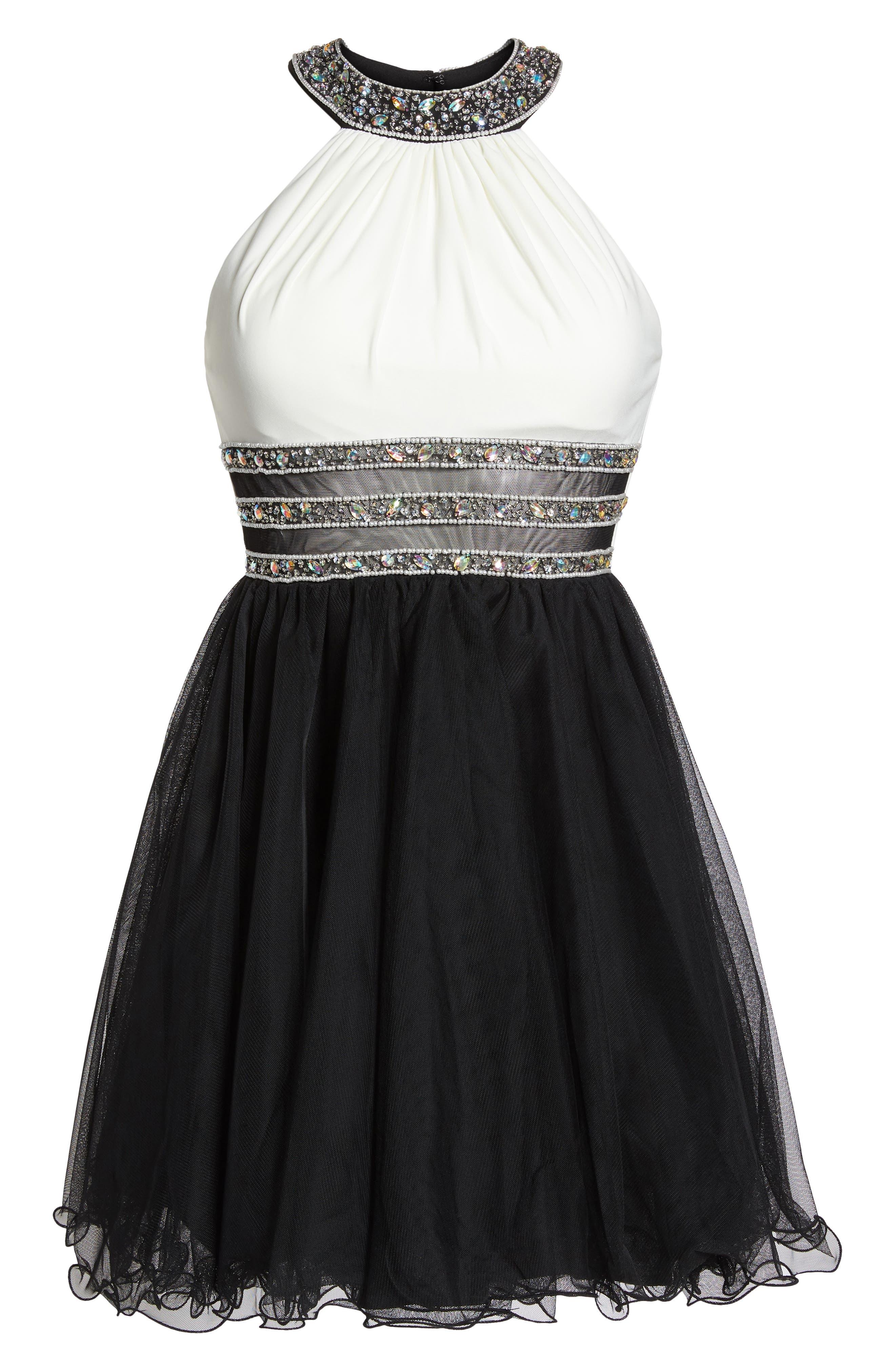 Embellished Colorblock Skater Dress,                             Alternate thumbnail 6, color,                             WHITE/ BLACK