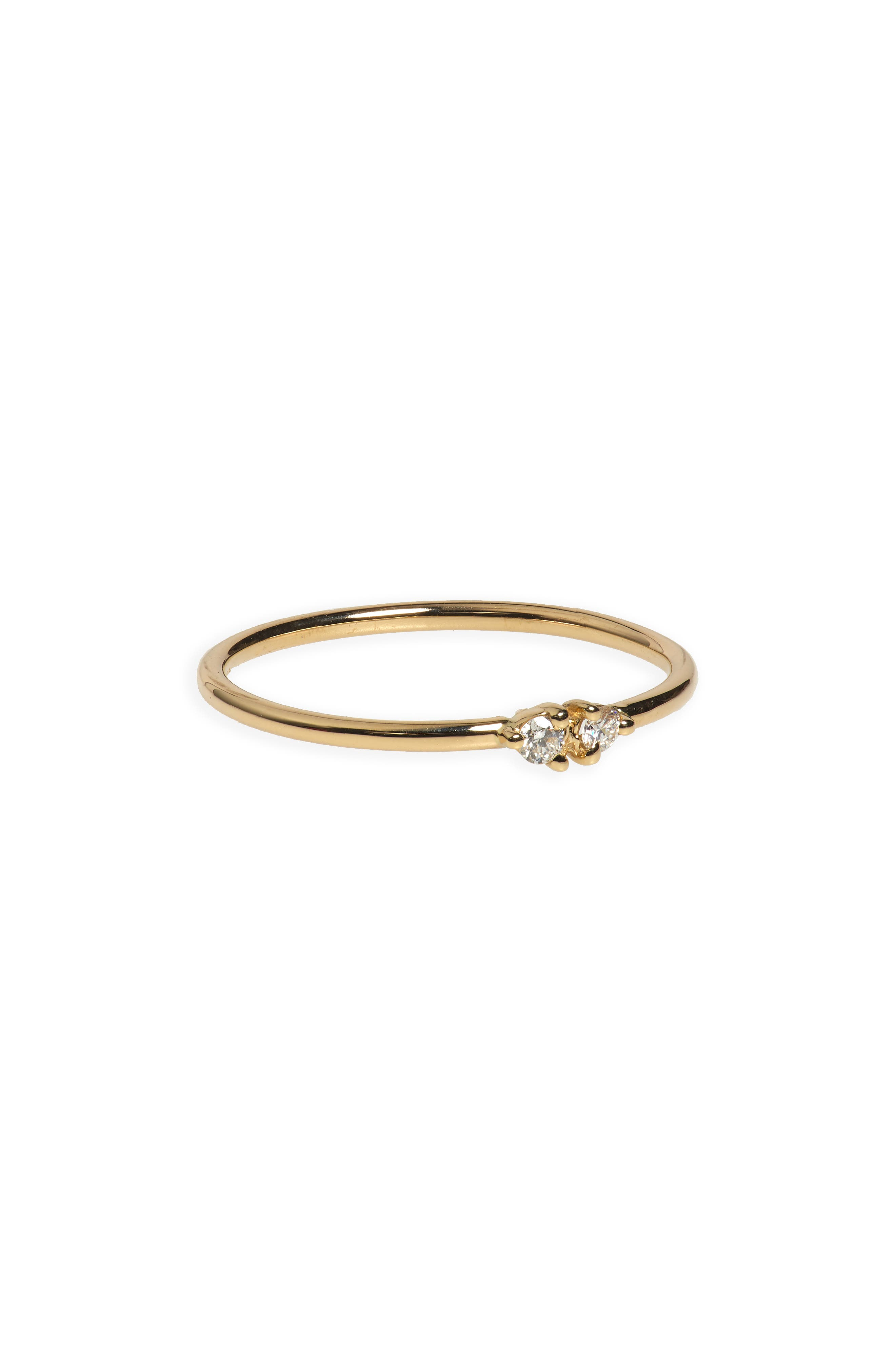 WWAKE Double Stone Ring in Gold