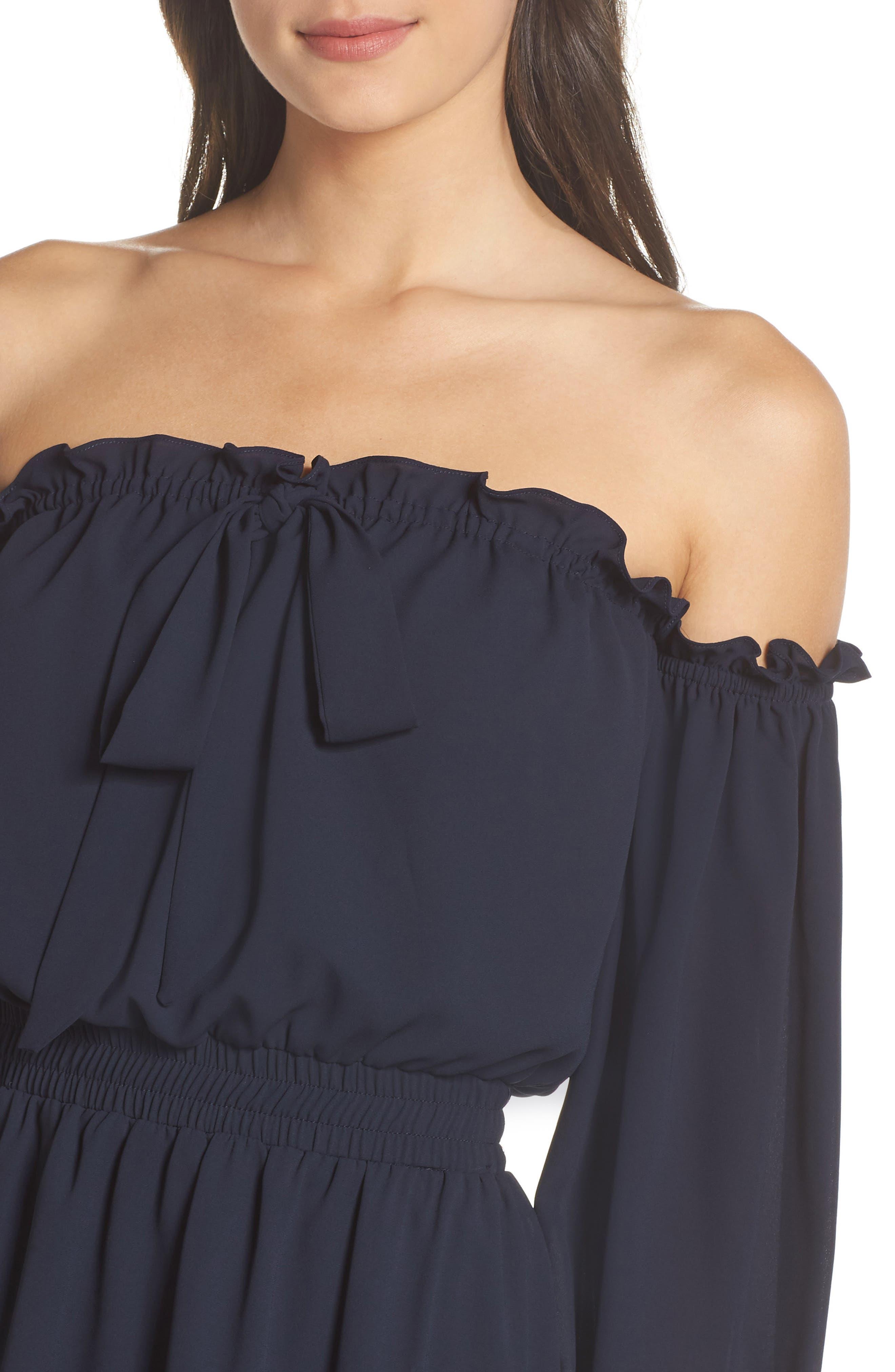 Off the Shoulder Halter Dress,                             Alternate thumbnail 4, color,                             402