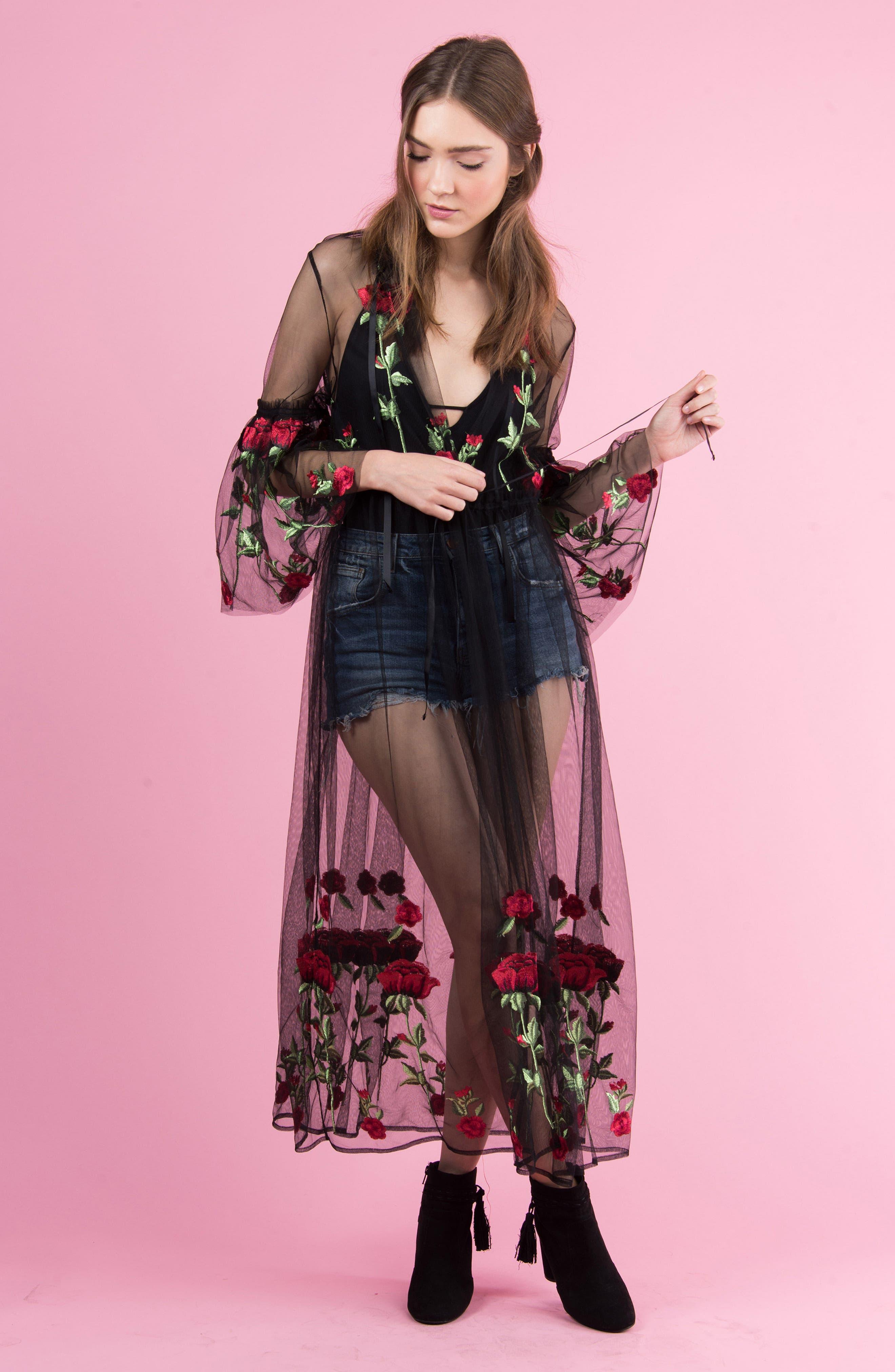 Desert Rose Kimono,                             Alternate thumbnail 7, color,                             BLACK