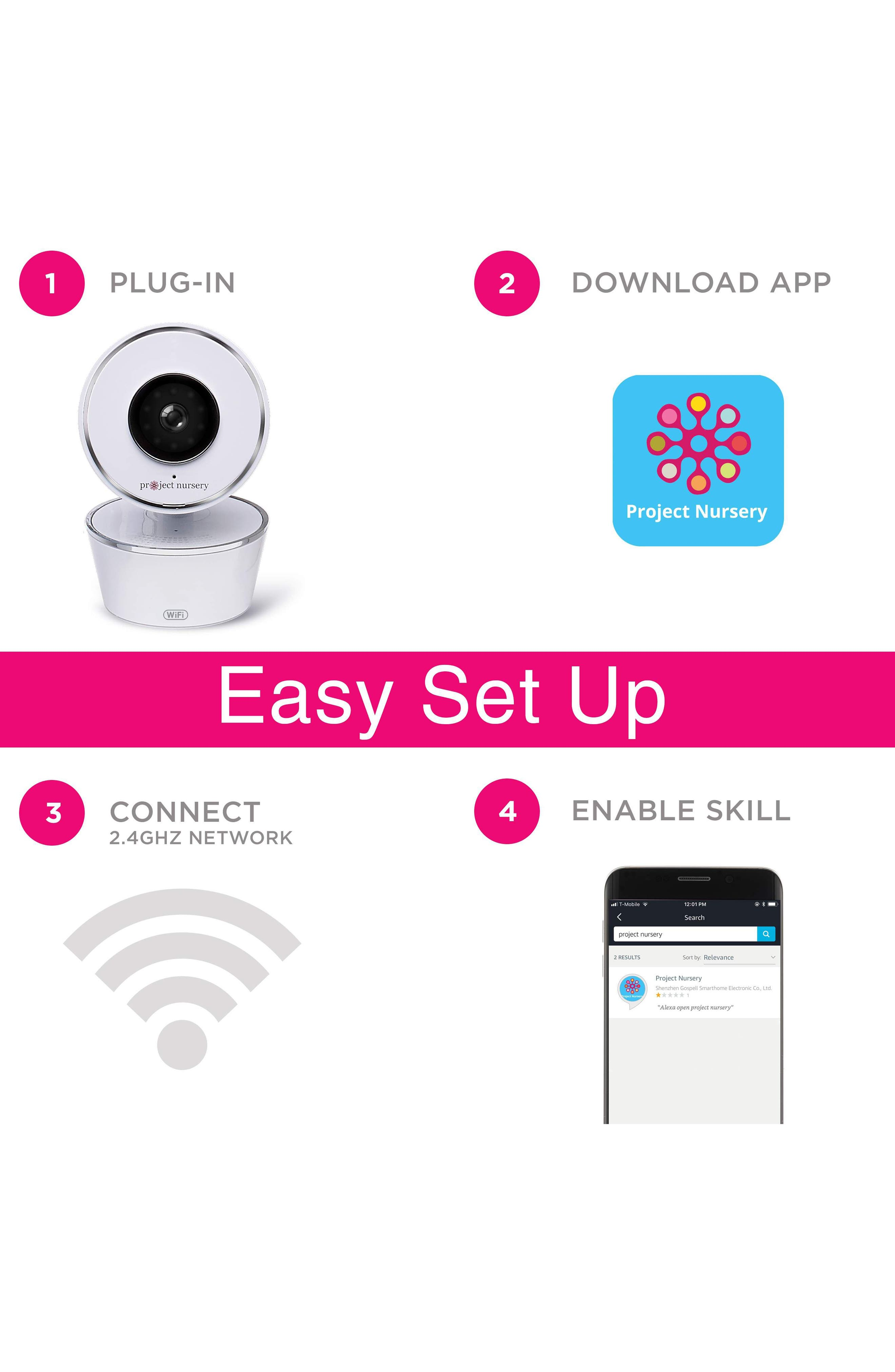 Smart Nursery Wi-Fi Baby Monitor,                             Alternate thumbnail 5, color,                             WHITE