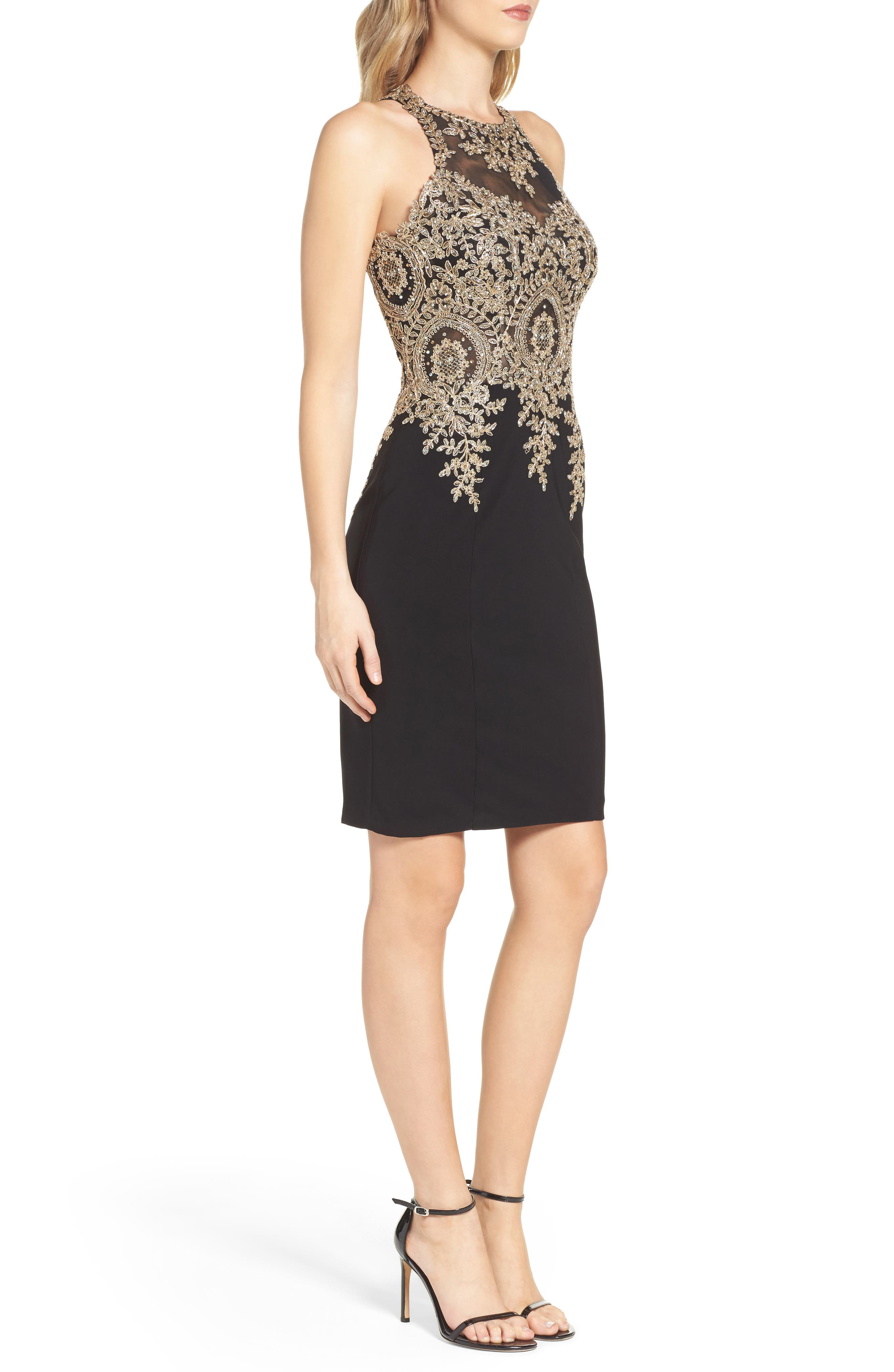 Embroidered Sheath Dress,                             Alternate thumbnail 3, color,                             011