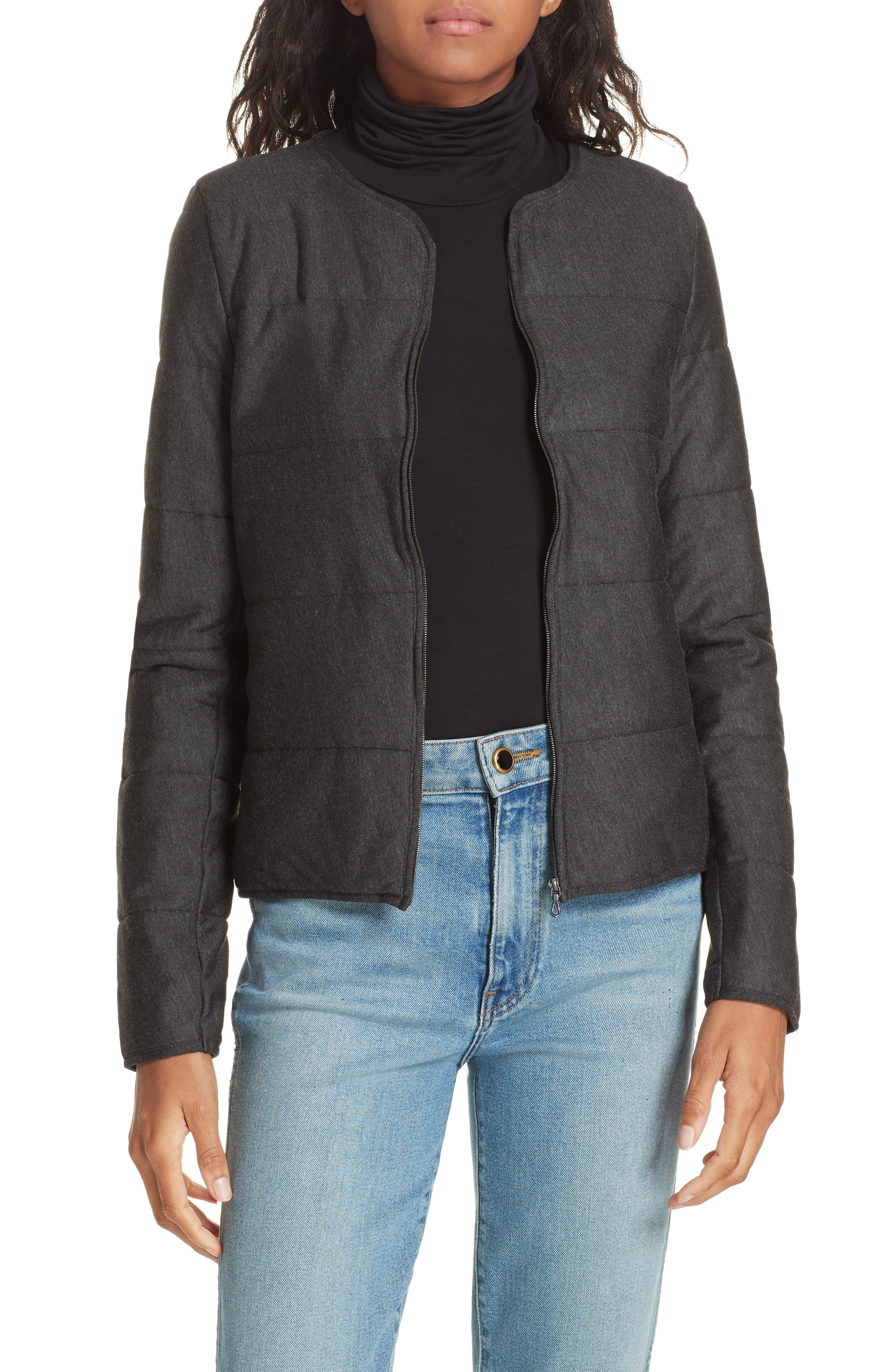 Quilted Bolero Jacket, Main, color, ANTHRACITE