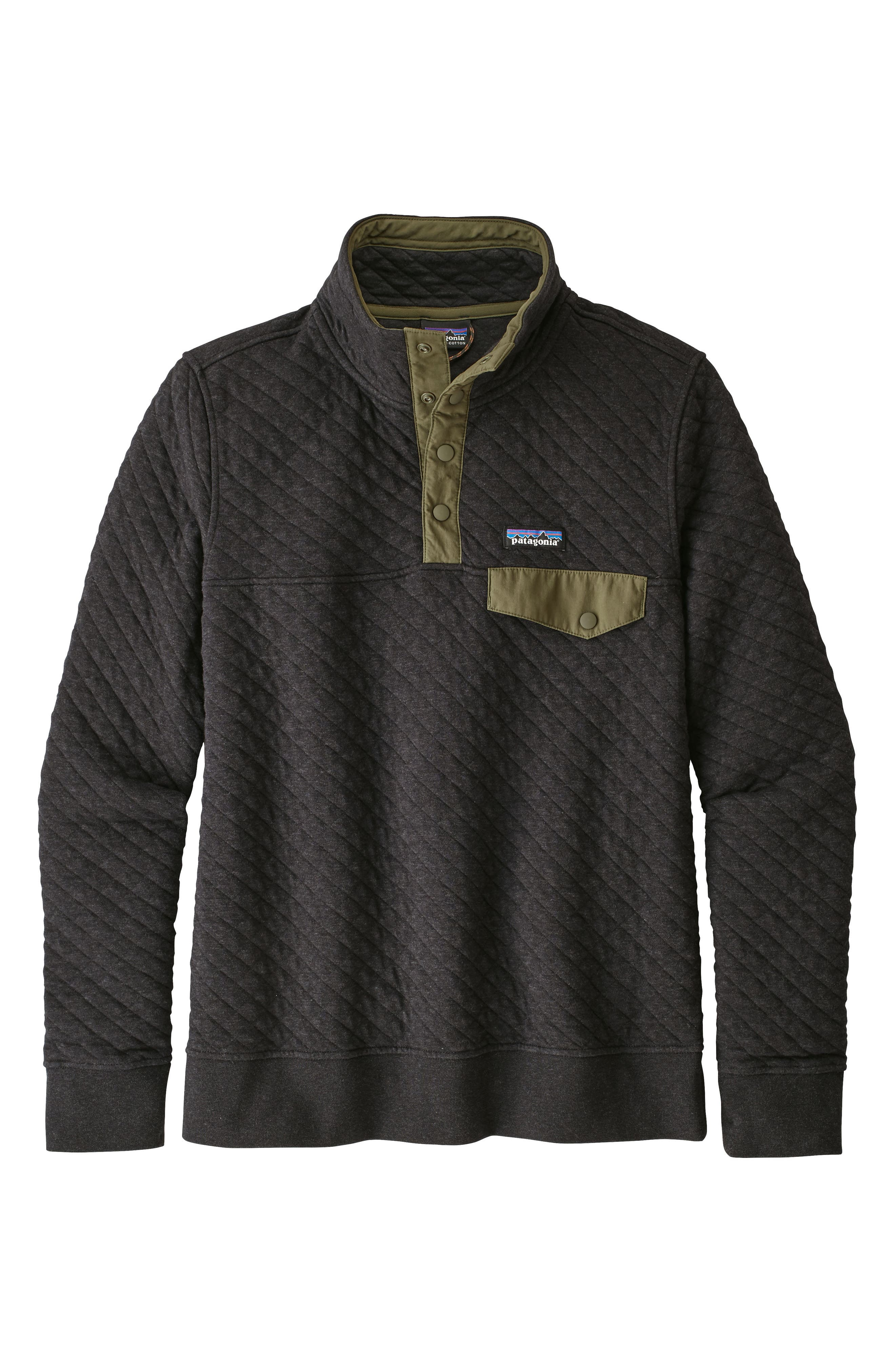 Snap-T<sup>®</sup> Quilted Pullover,                         Main,                         color, BLK