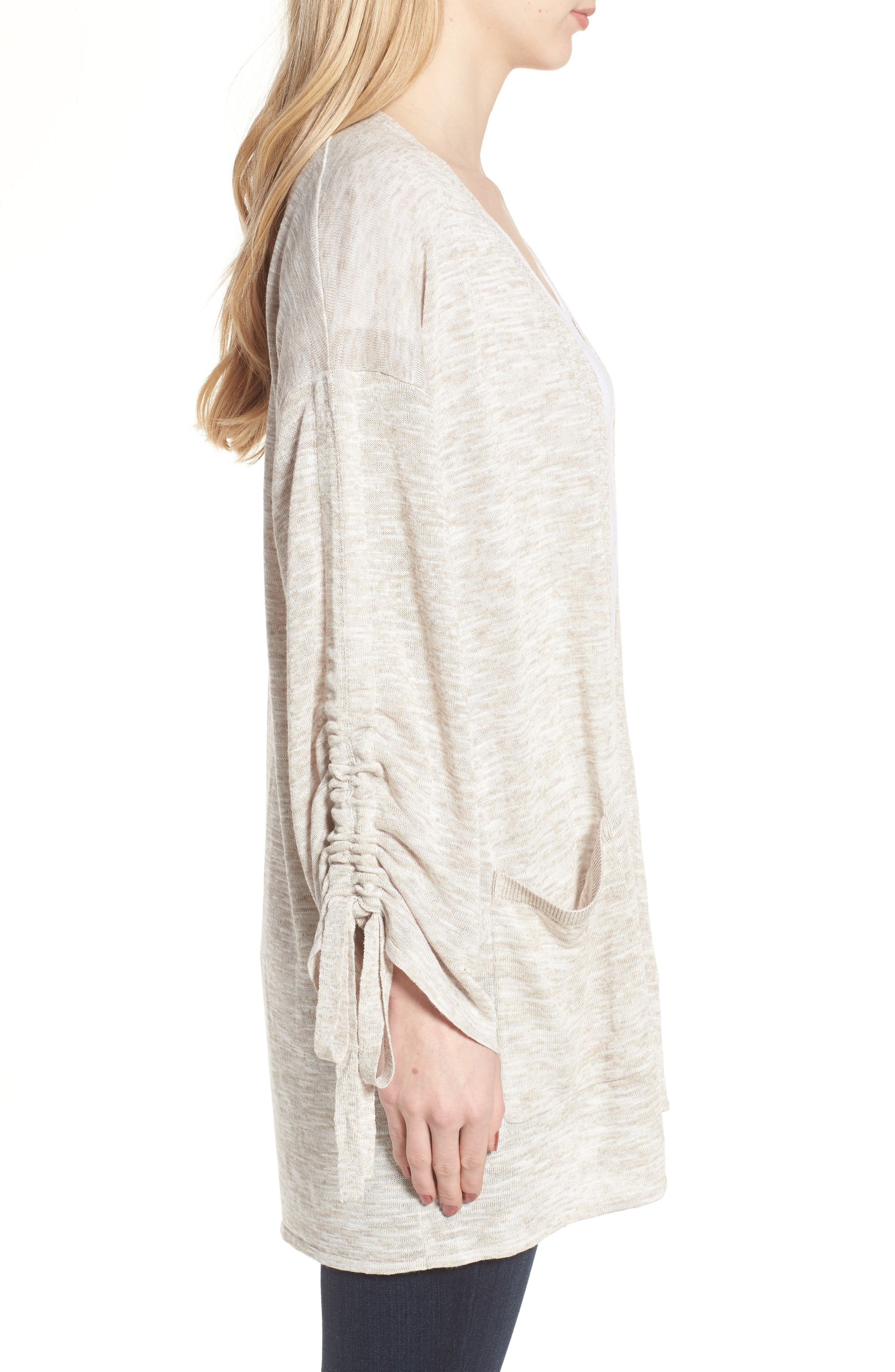 Ruched Sleeve Cardigan,                             Alternate thumbnail 3, color,                             250