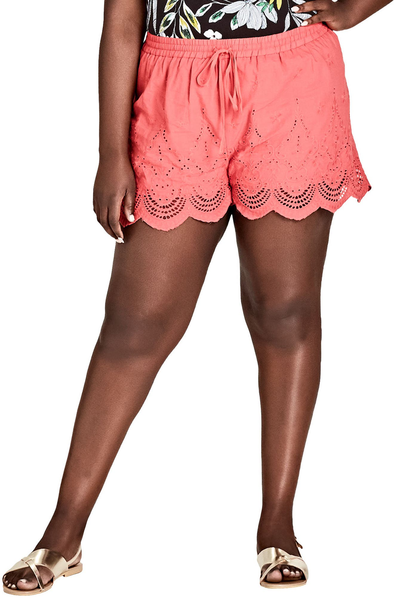 Summer Love Drawstring Shorts,                             Main thumbnail 1, color,                             DARK CORAL
