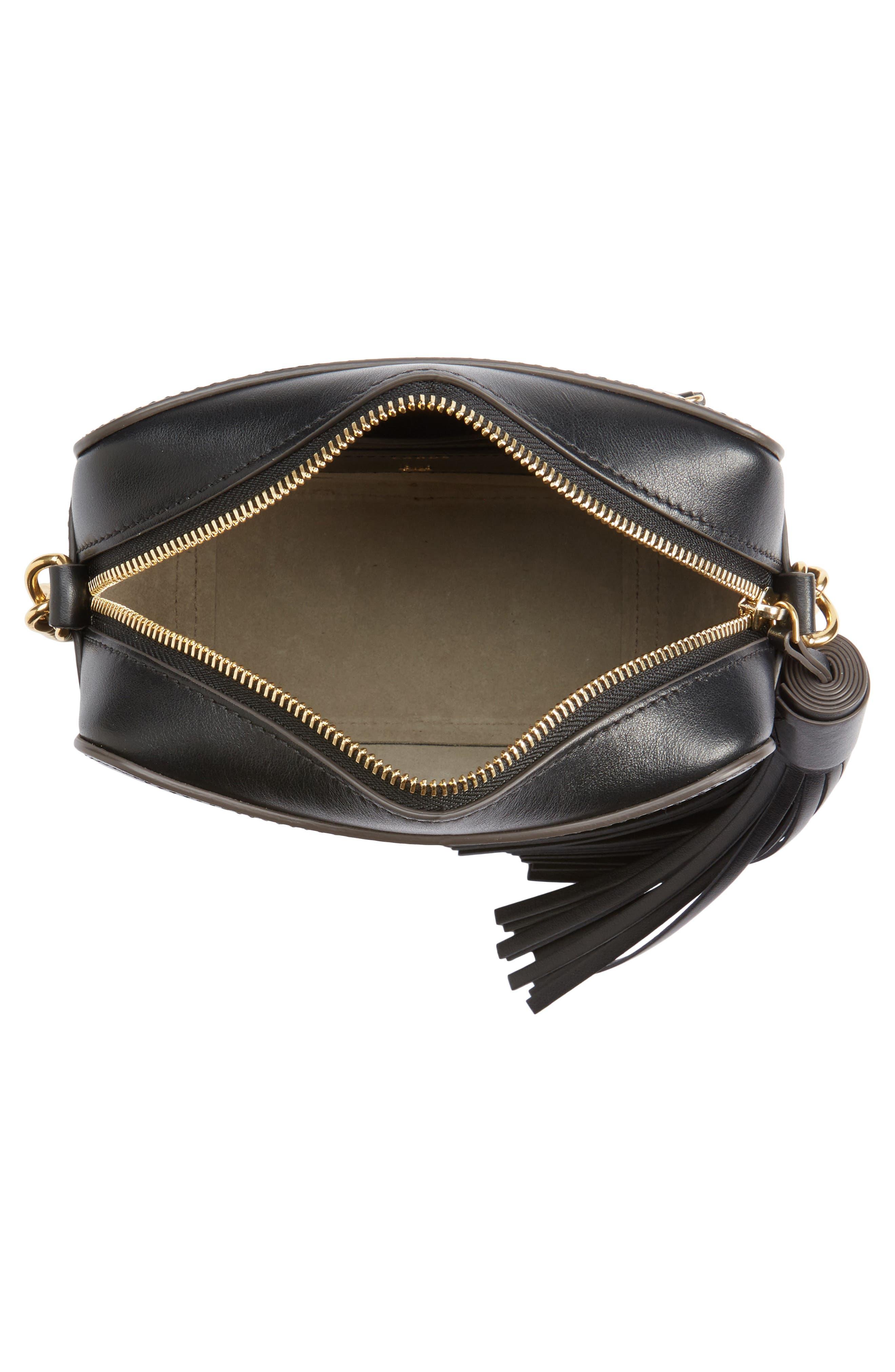 Eyes Camera Leather Crossbody Bag,                             Alternate thumbnail 4, color,                             BLACK